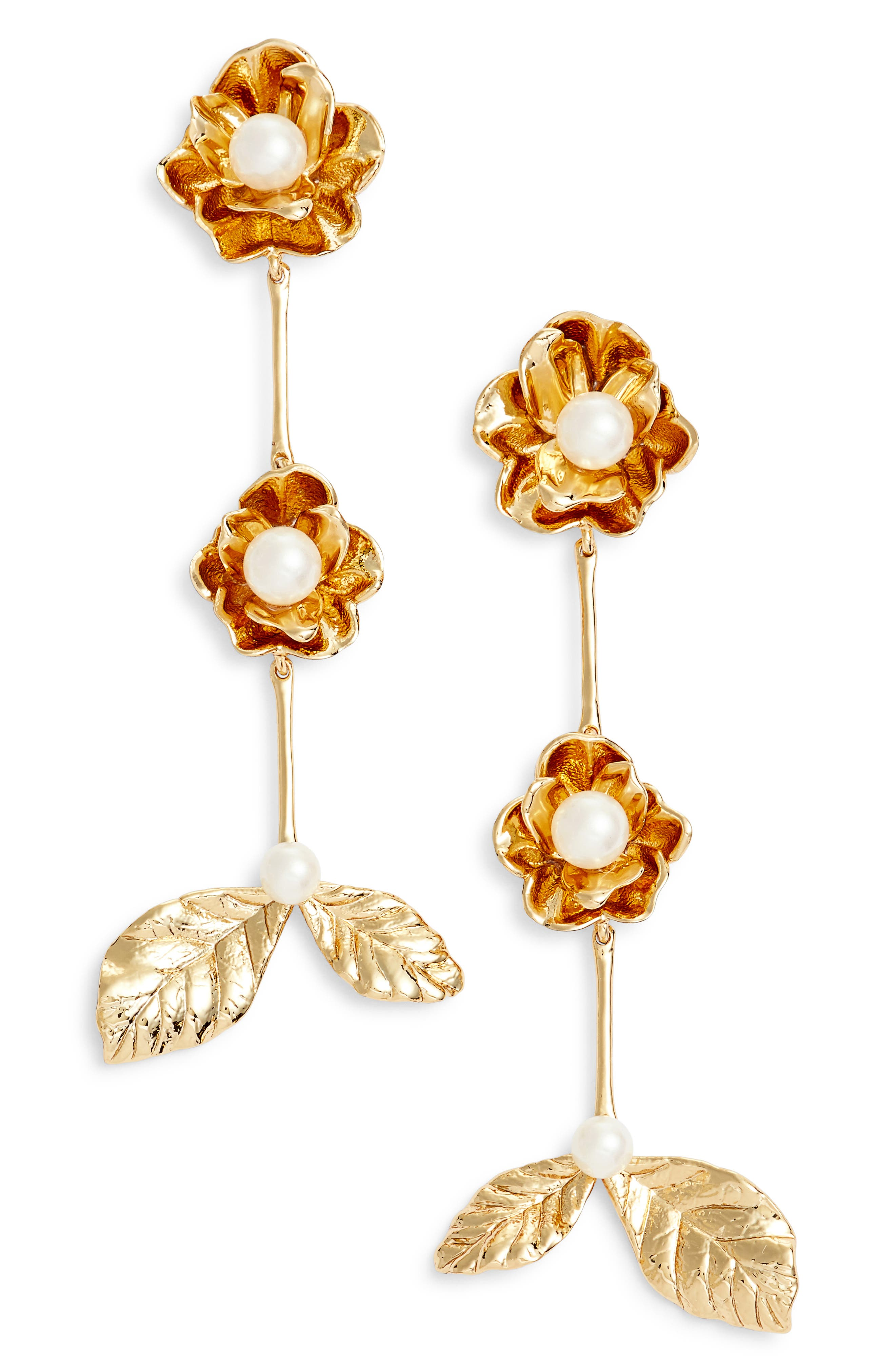 kate spade floral imitation pearl drop earrings,                             Main thumbnail 1, color,                             Gold