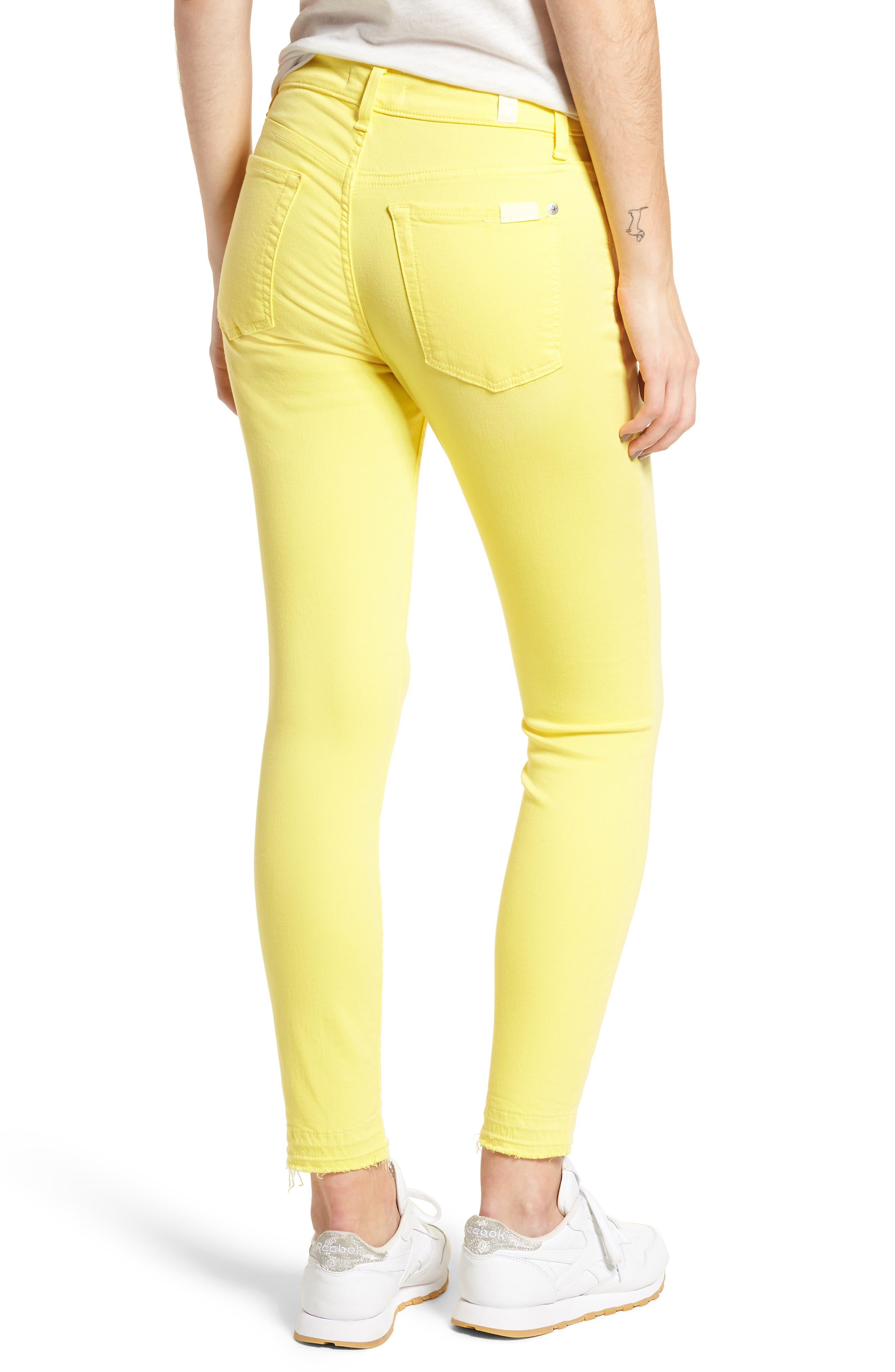 Released Hem Ankle Skinny Jeans,                             Alternate thumbnail 2, color,                             Vivid Yellow