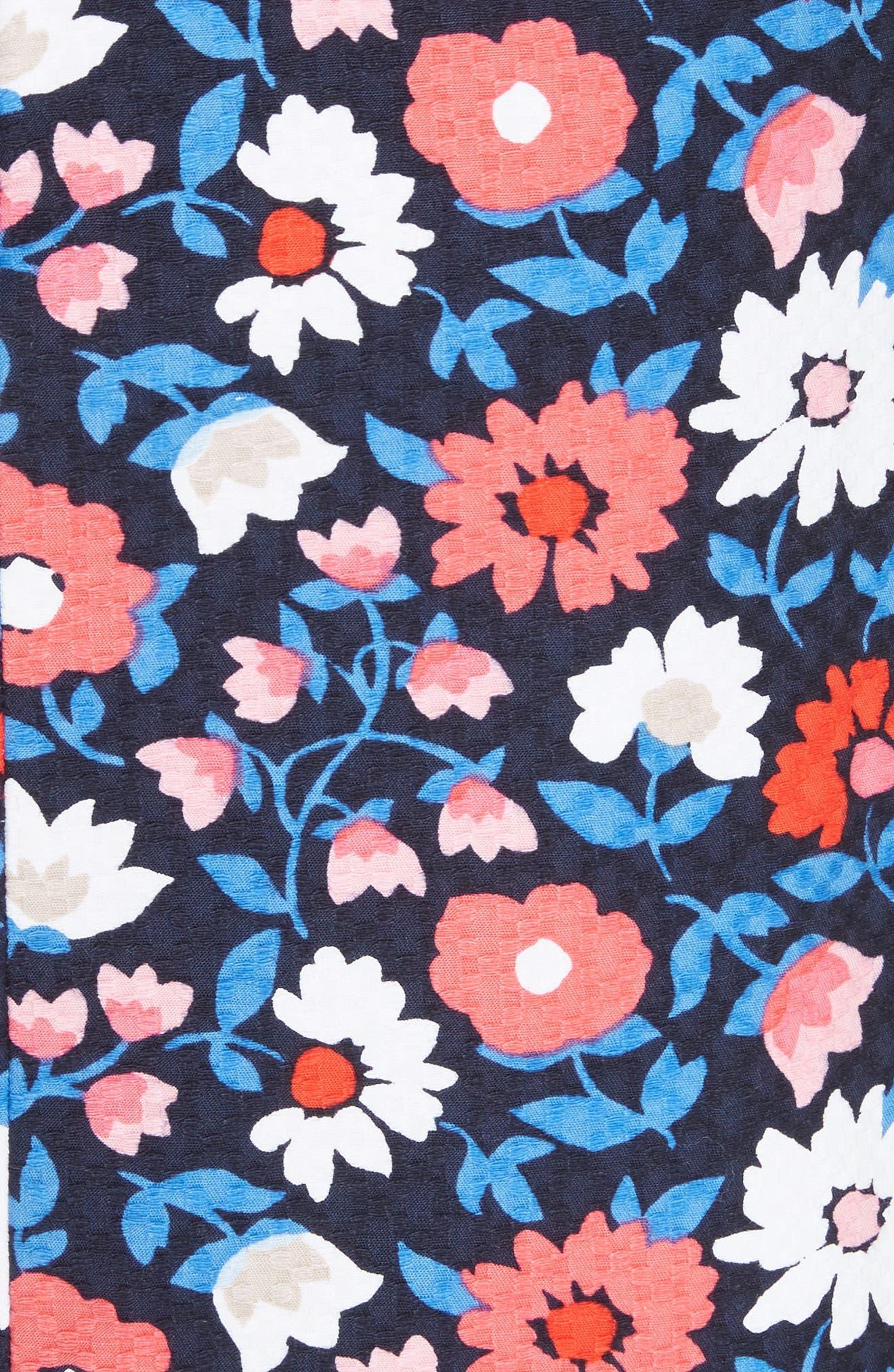 daisy jacquard A-line skirt,                             Alternate thumbnail 5, color,                             Rich Navy