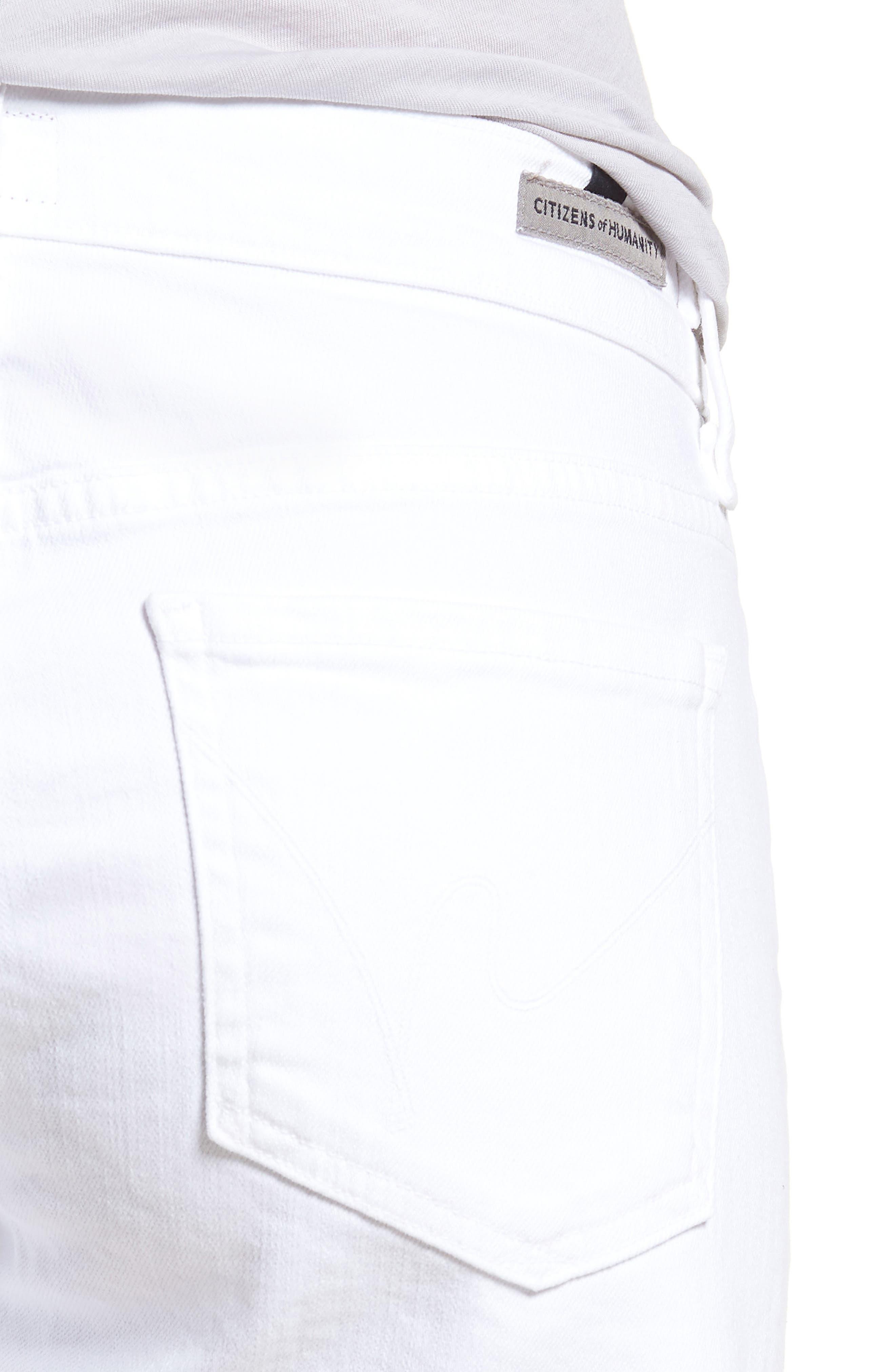 Ava Cutoff Denim Shorts,                             Alternate thumbnail 4, color,                             Optic White