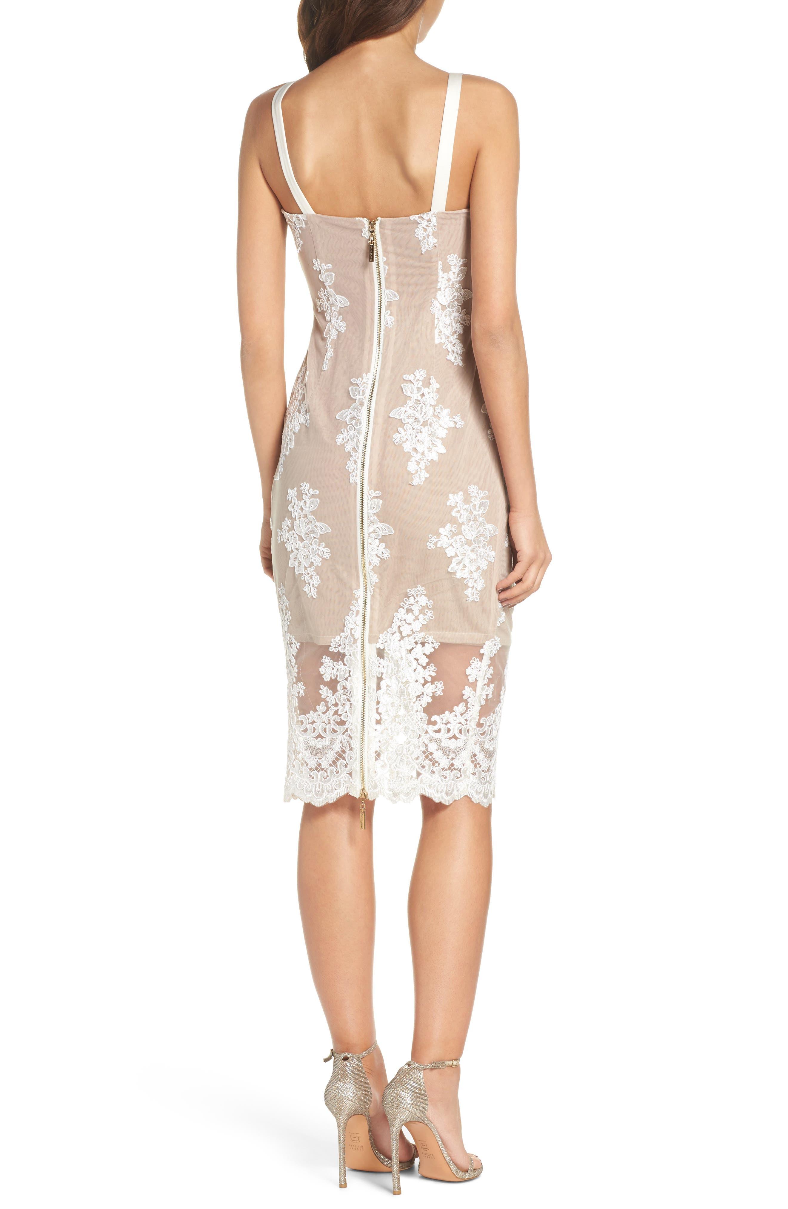 Camilla Lace Sheath Dress,                             Alternate thumbnail 2, color,                             White