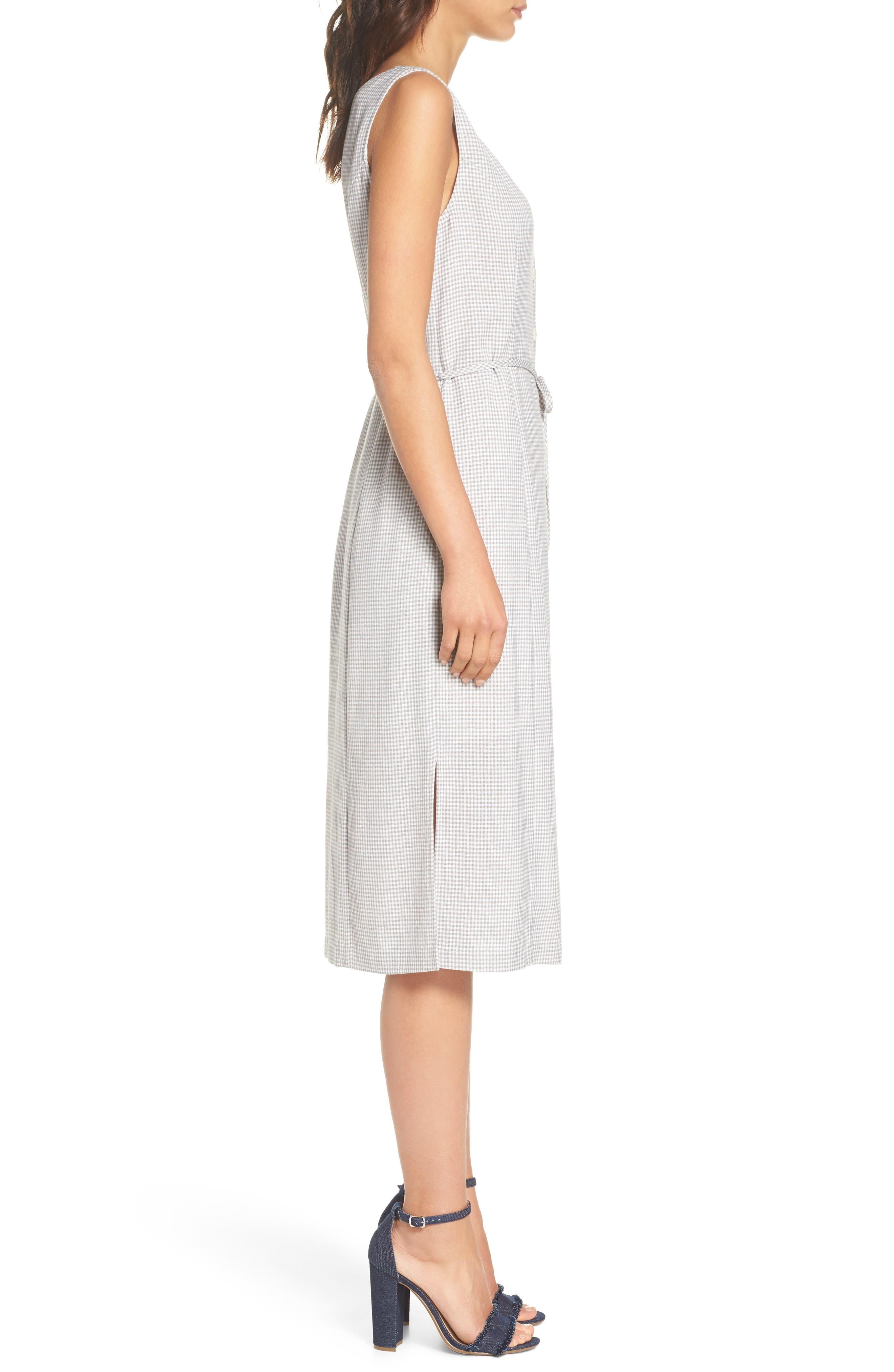 Gingham Midi Dress,                             Alternate thumbnail 3, color,                             Grey/ White