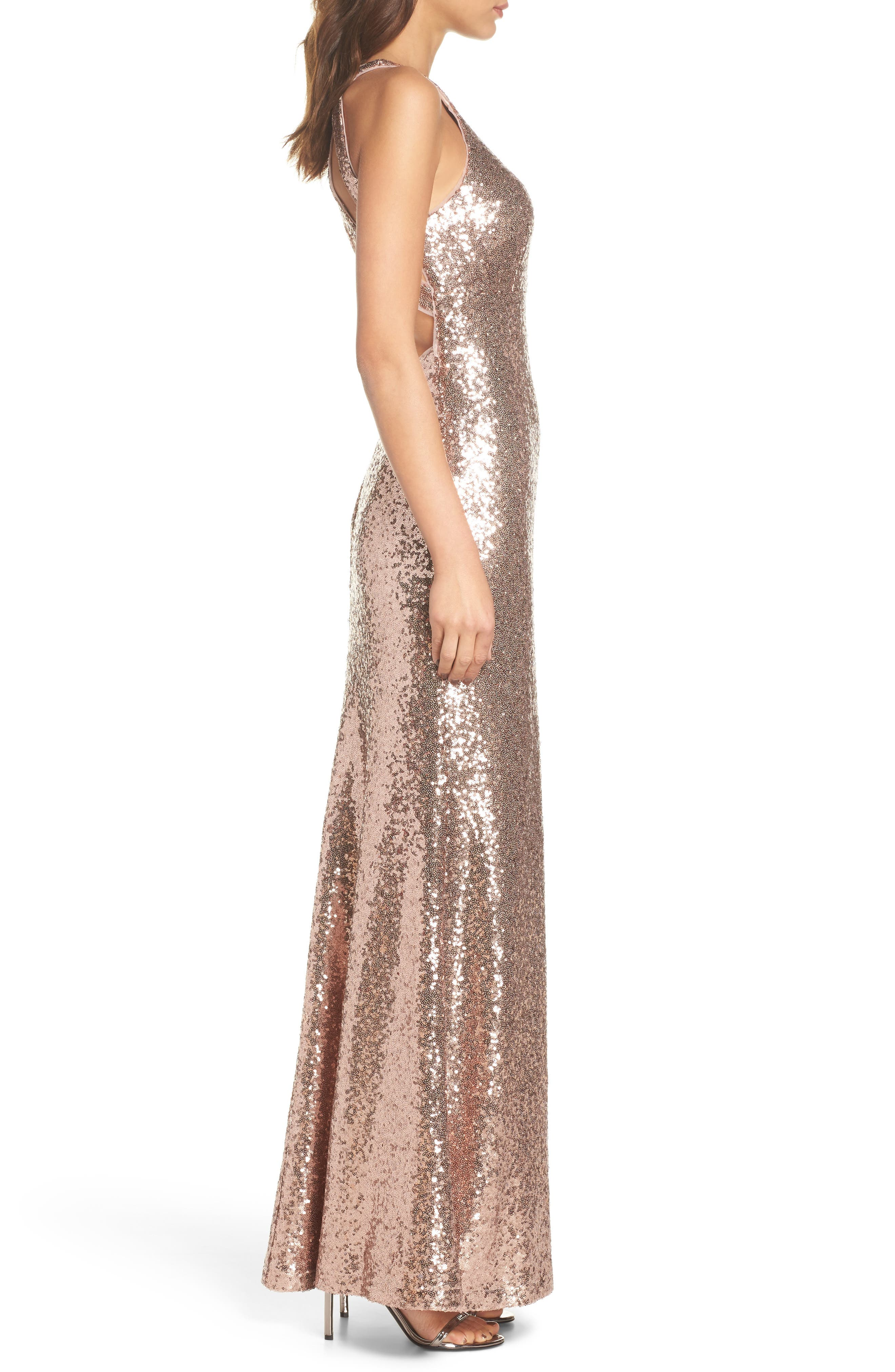 Sequin Halter Gown,                             Alternate thumbnail 3, color,                             Rose Gold
