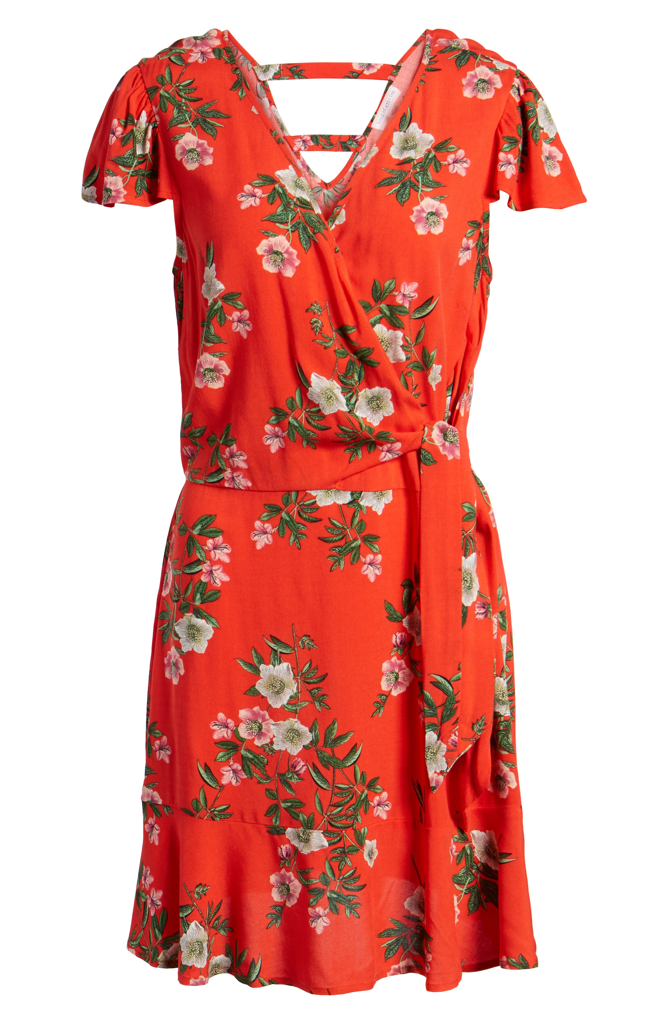 Alternate Image 6  - Band of Gypsies Floral Print Tie Waist Dress