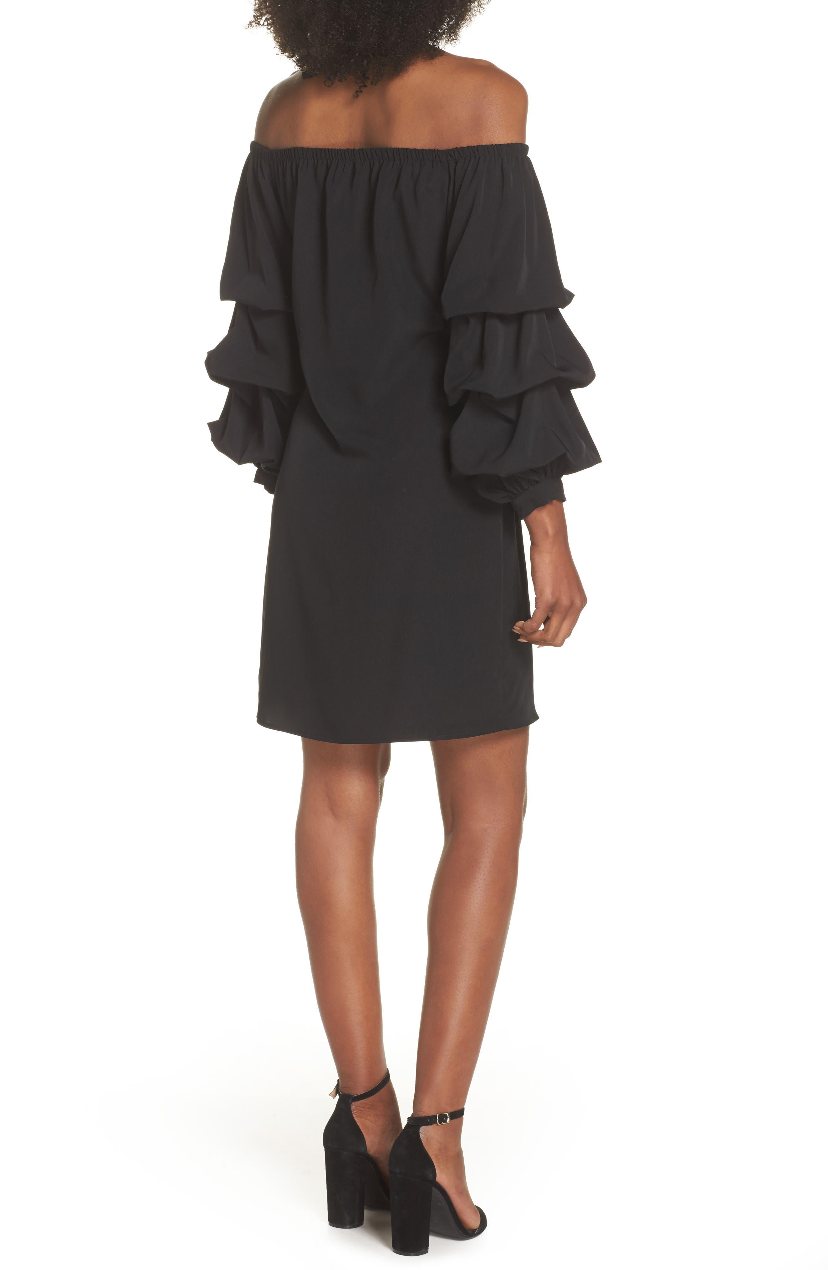 Off the Shoulder Tiered Sleeve Dress,                             Alternate thumbnail 2, color,                             Black