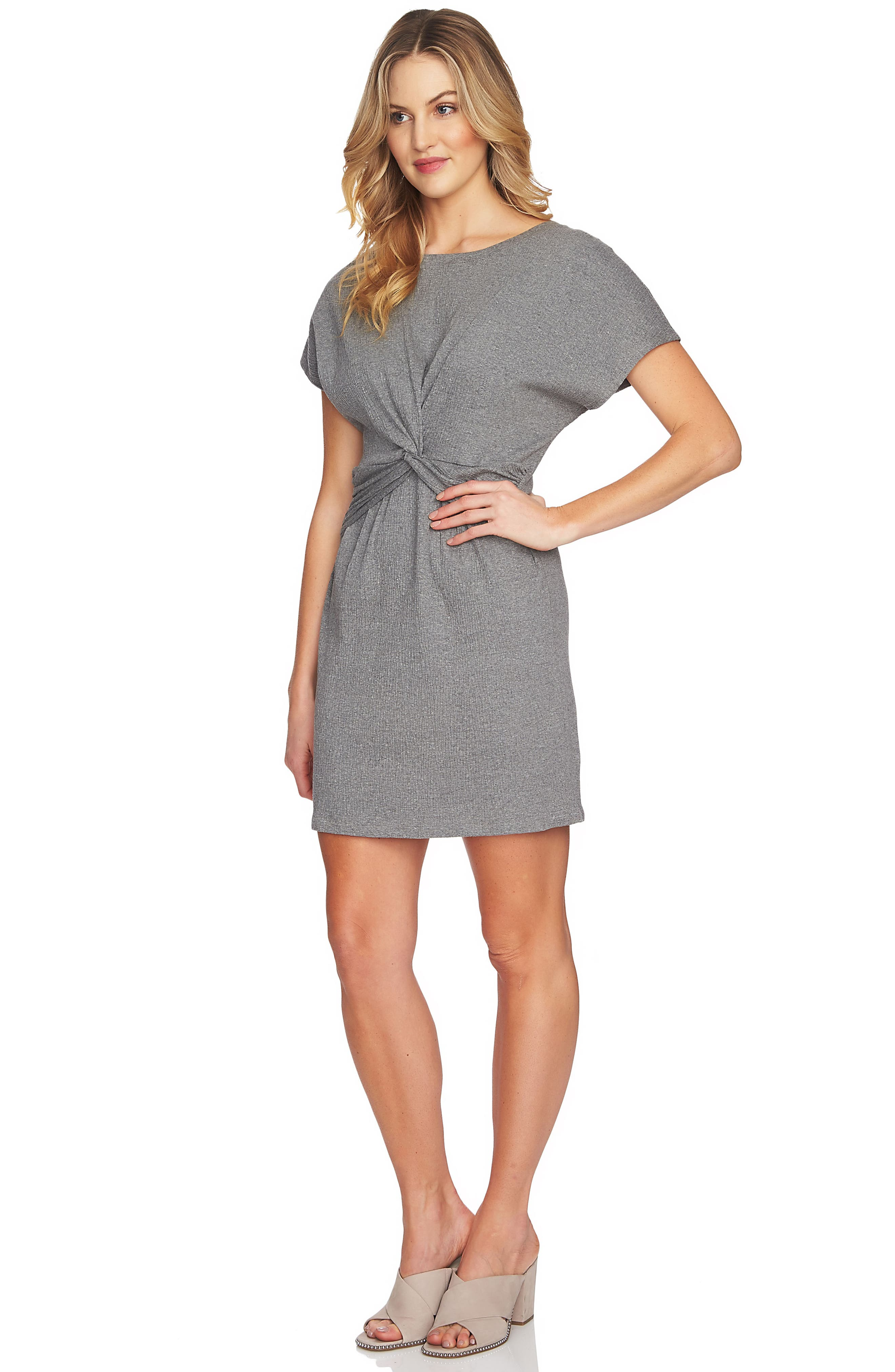 Twist Body-Con Dress,                             Alternate thumbnail 3, color,                             078 Light Heather Grey