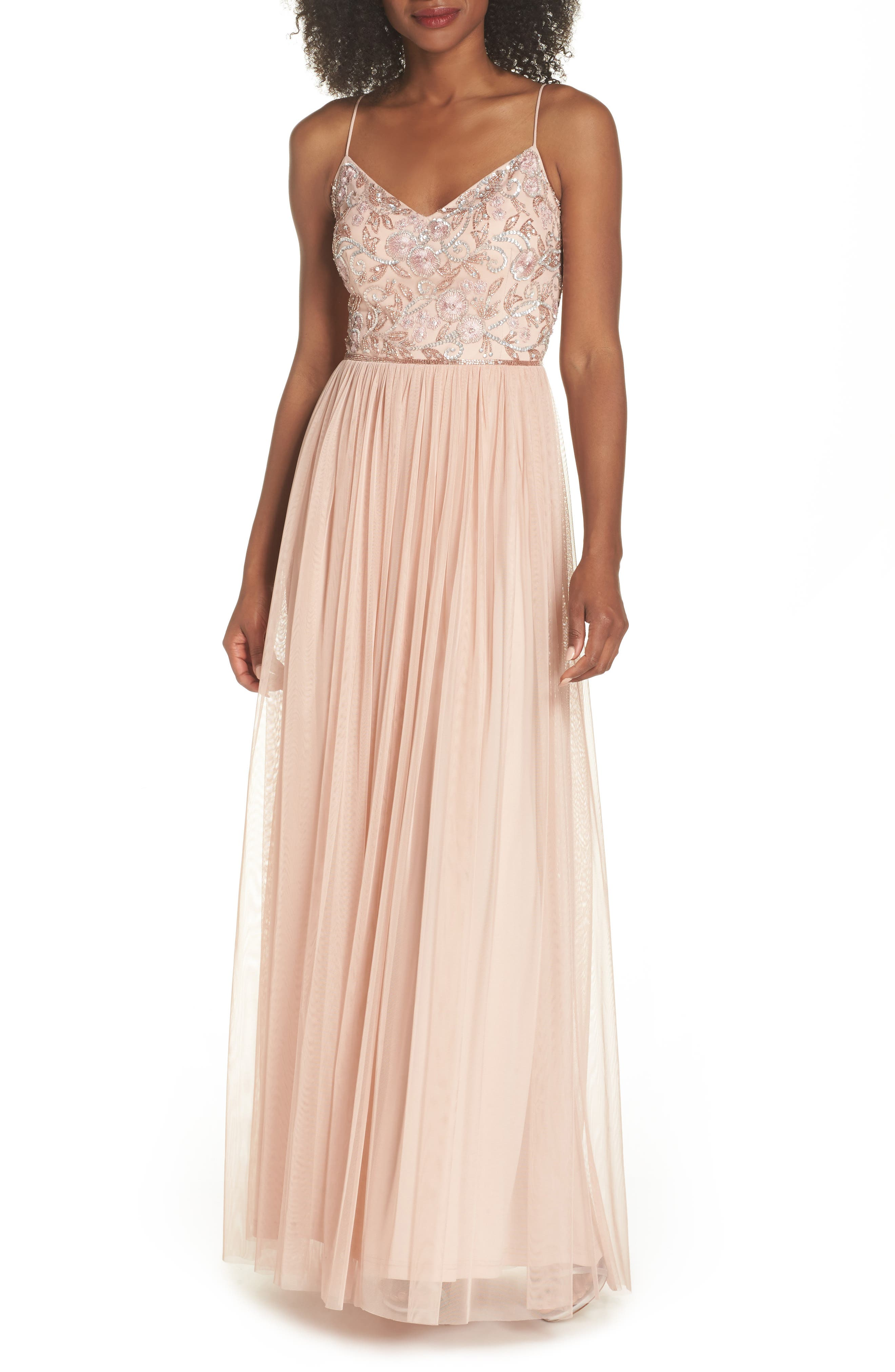 ADRIANNA PAPELL BEADED MESH GOWN, BLUSH | ModeSens