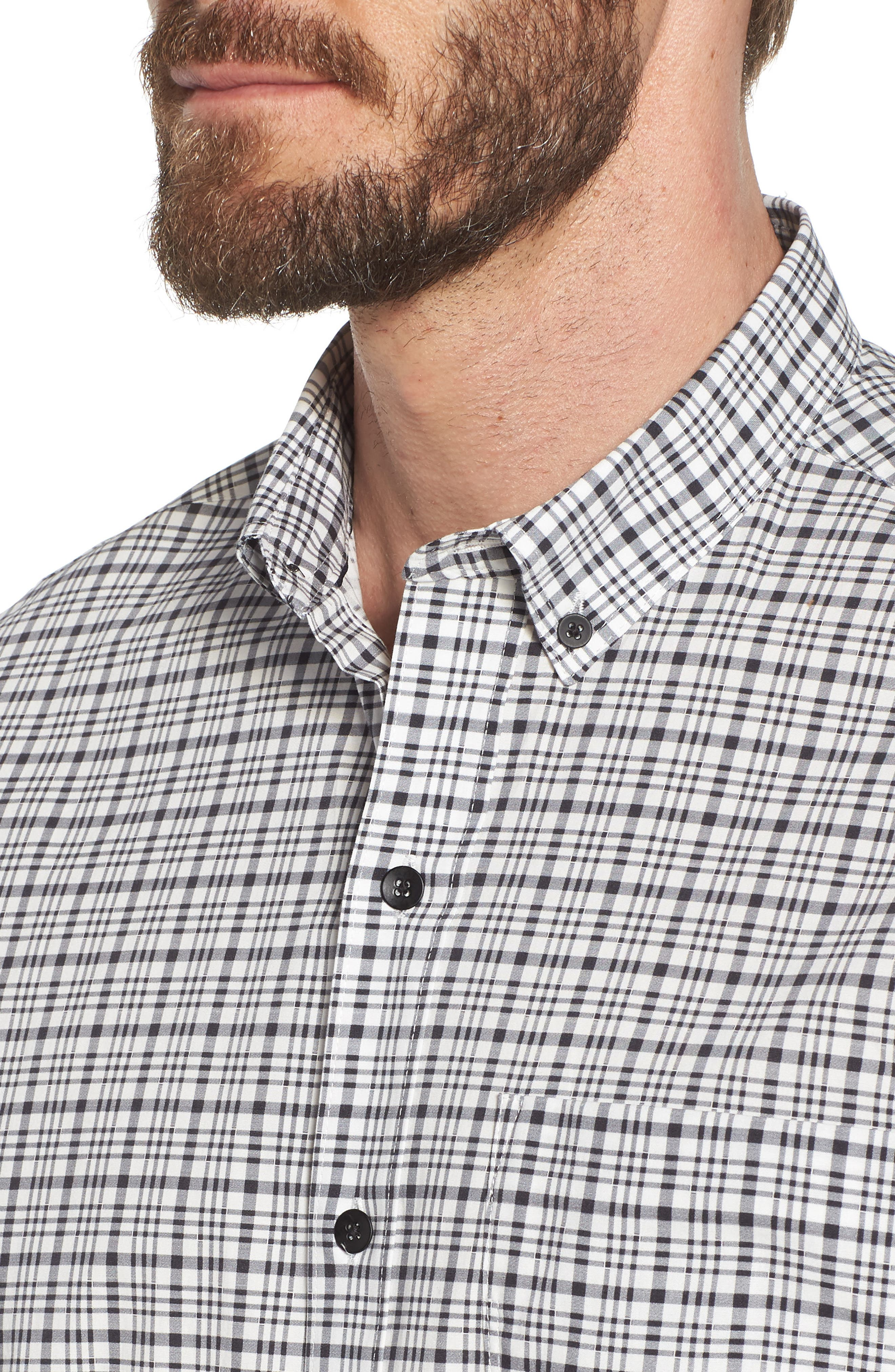 Check Slim Fit Sport Shirt,                             Alternate thumbnail 4, color,                             White/ Black