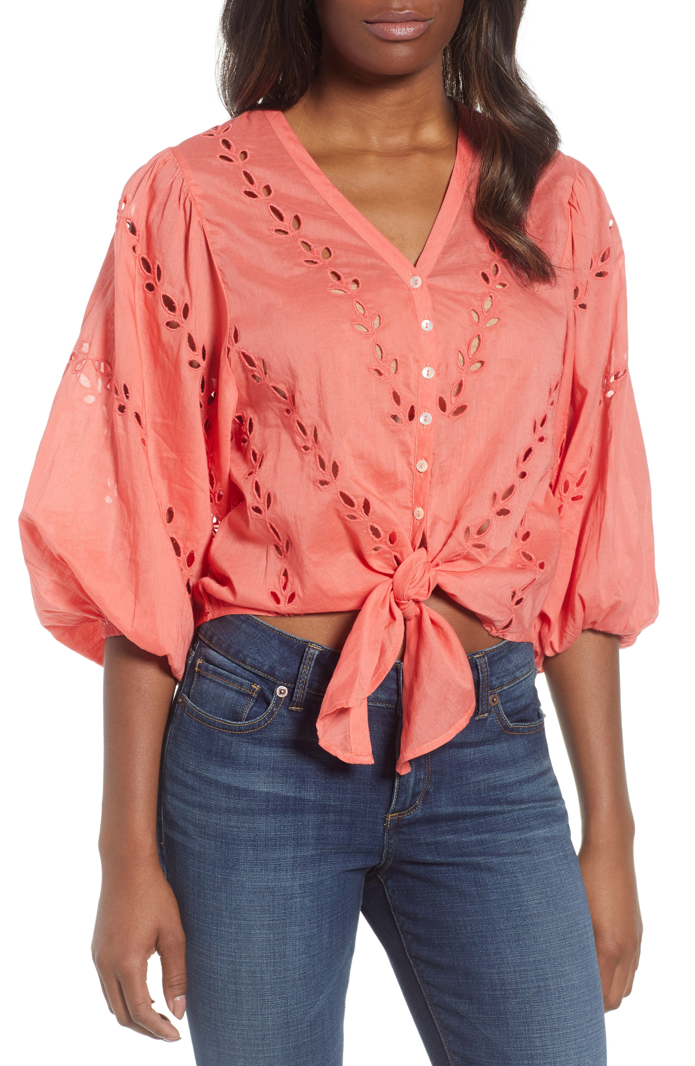 Eyelet Tie Front Cotton Peasant Blouse,                         Main,                         color, Spiced Coral