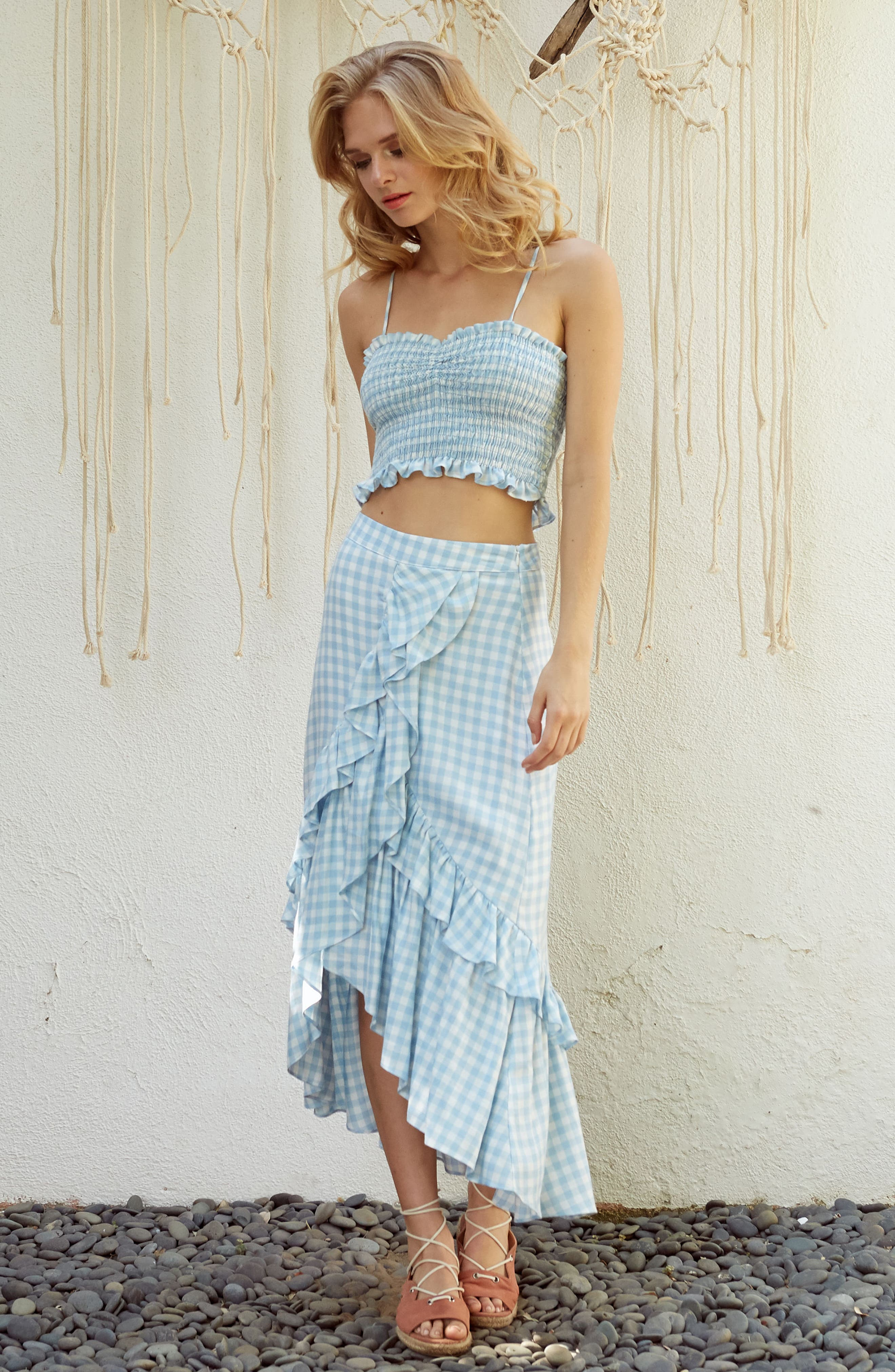 Fiesta Smocked Gingham Crop Top,                             Alternate thumbnail 2, color,                             Baby Blue