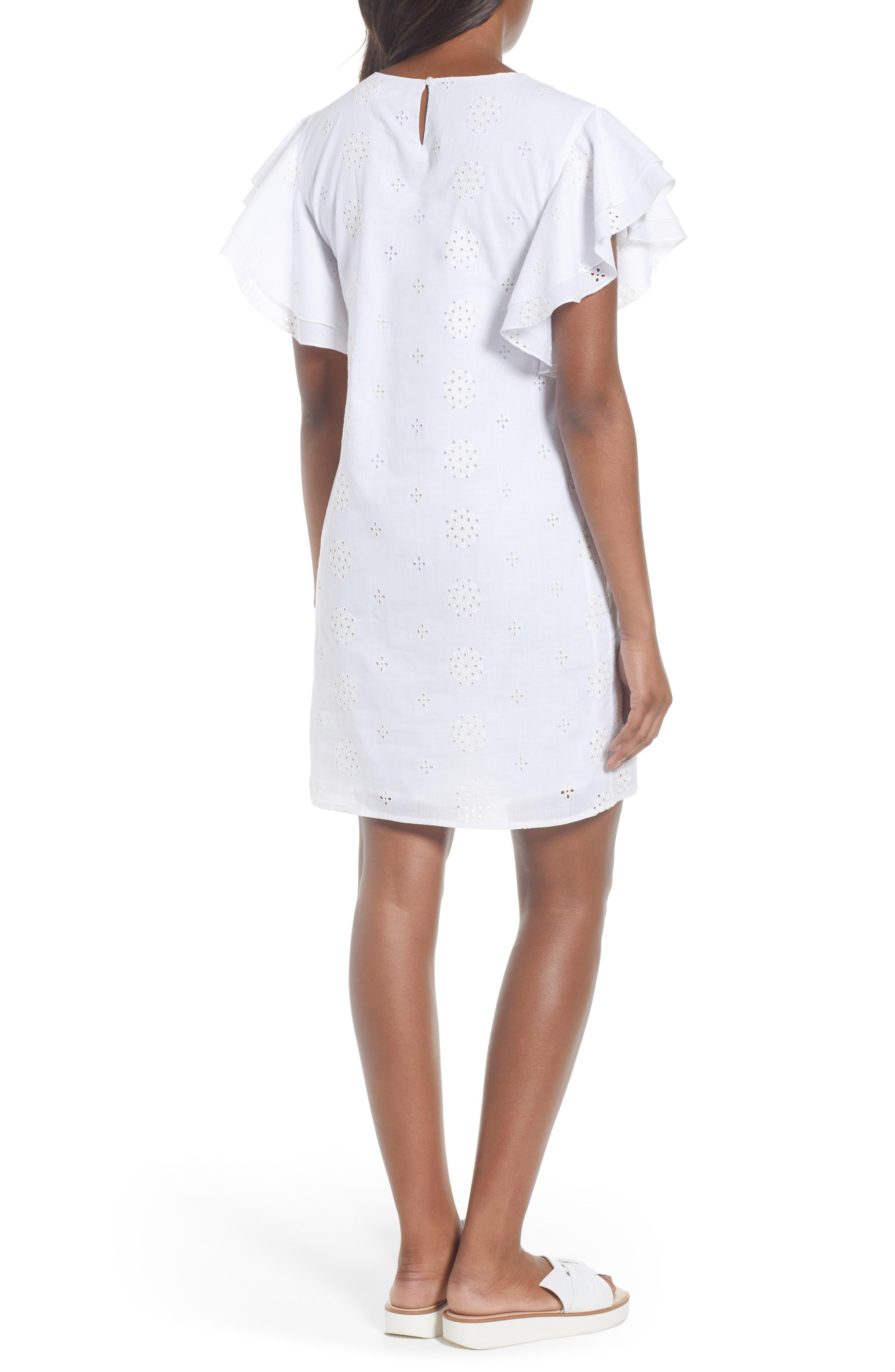 Eyelet Flutter Sleeve Cotton Dress,                             Alternate thumbnail 2, color,                             White Cap