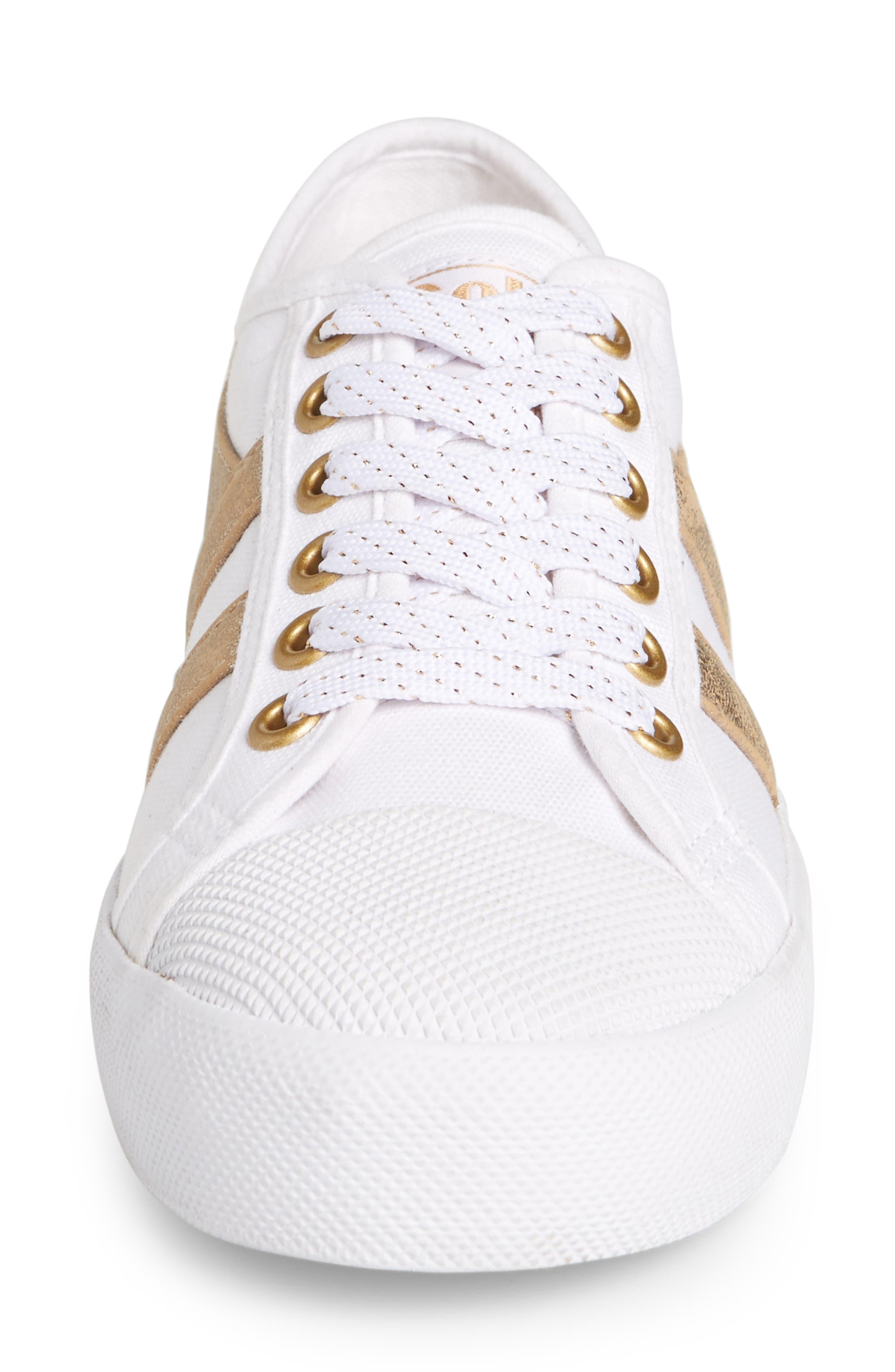 Coaster Mirror Sneaker,                             Alternate thumbnail 4, color,                             White/ Gold