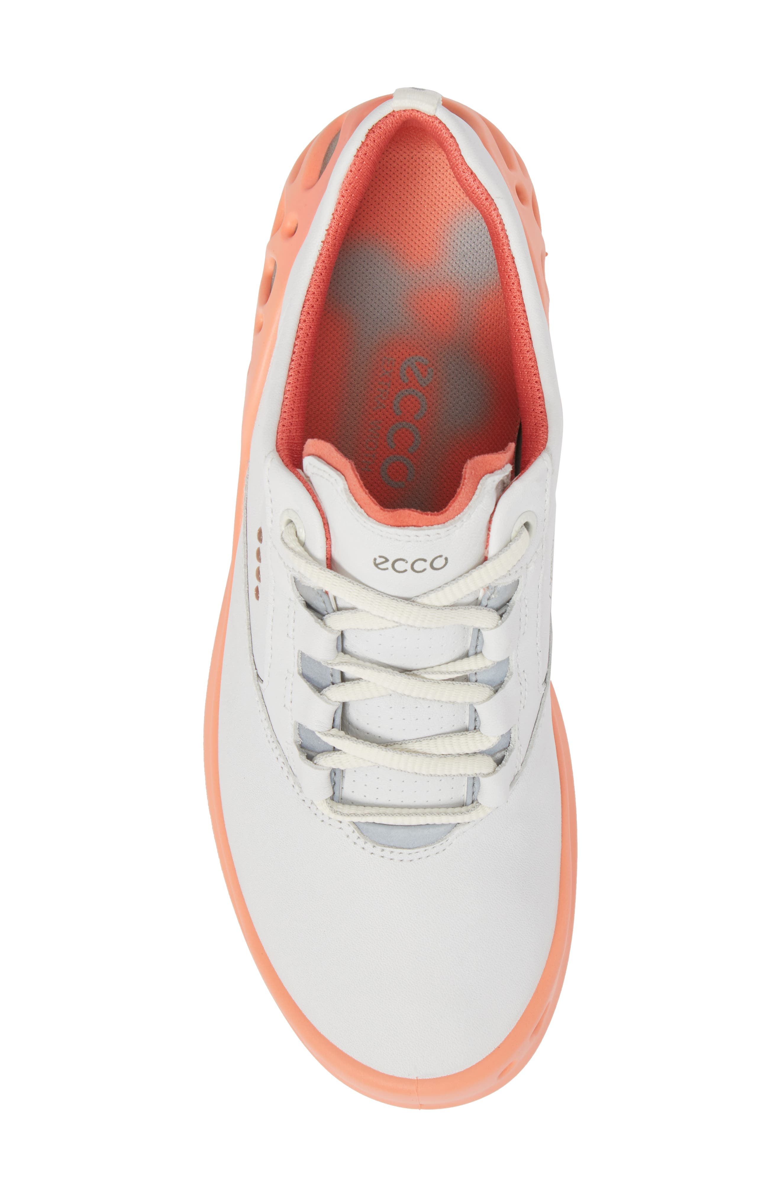 Cage Gore-Tex<sup>®</sup> Golf Shoe,                             Alternate thumbnail 5, color,                             White/ Coral Leather