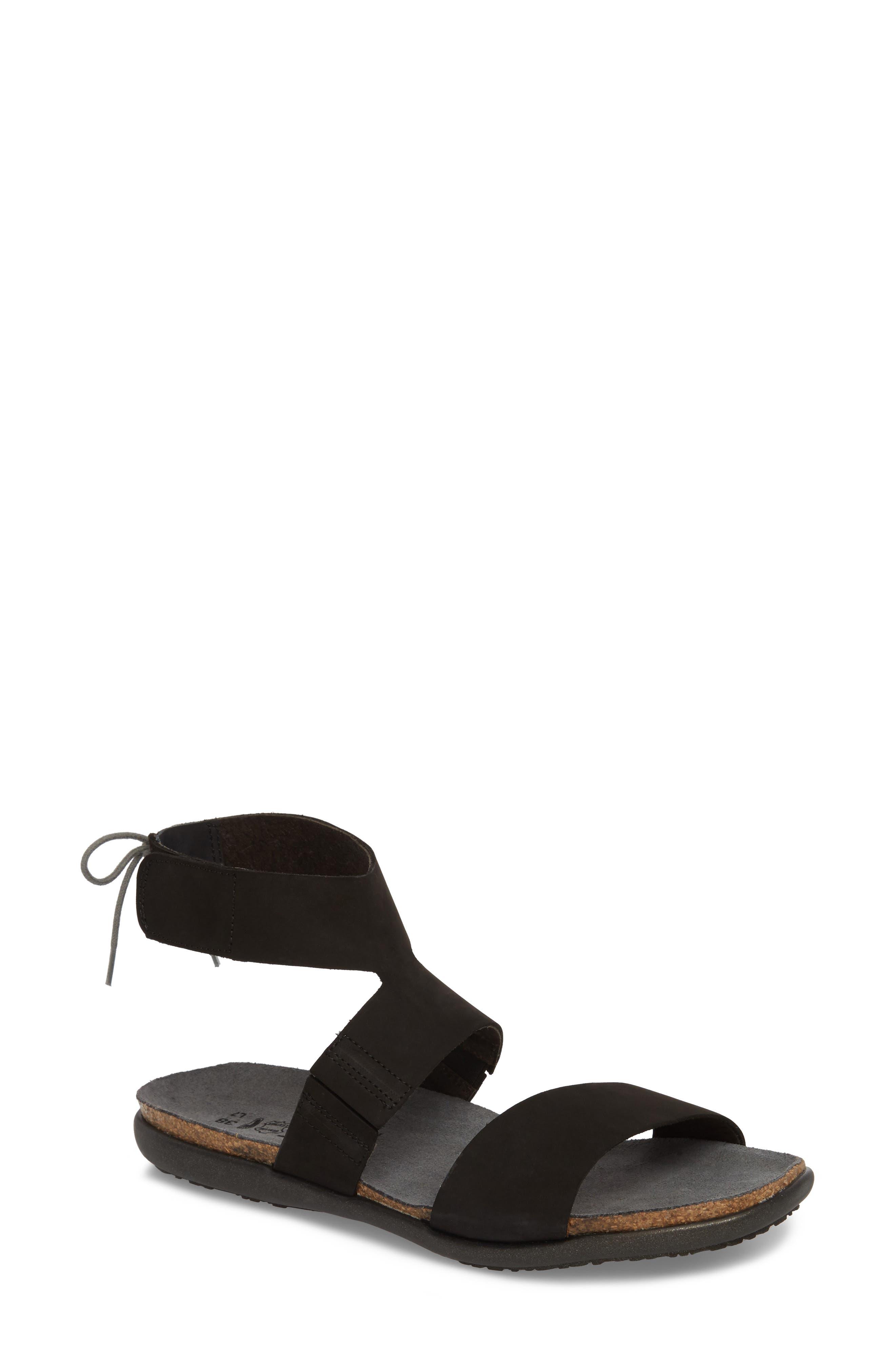 Larissa Ankle Strap Sandal,                         Main,                         color, Black Velvet Nubuck