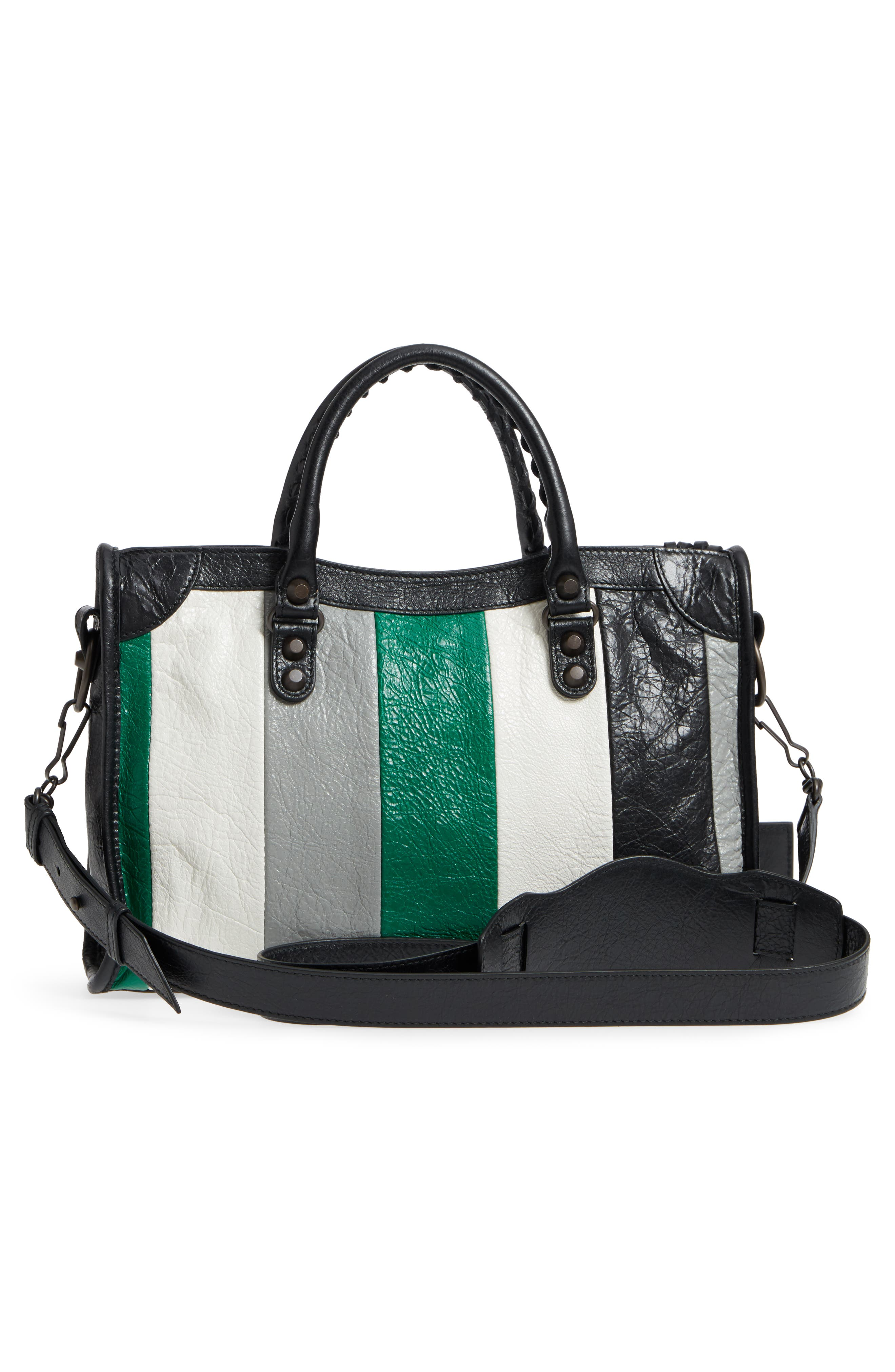Small Classic City Leather Tote,                             Alternate thumbnail 3, color,                             Vert/ Gris Fossil/ Noir/ Blanc