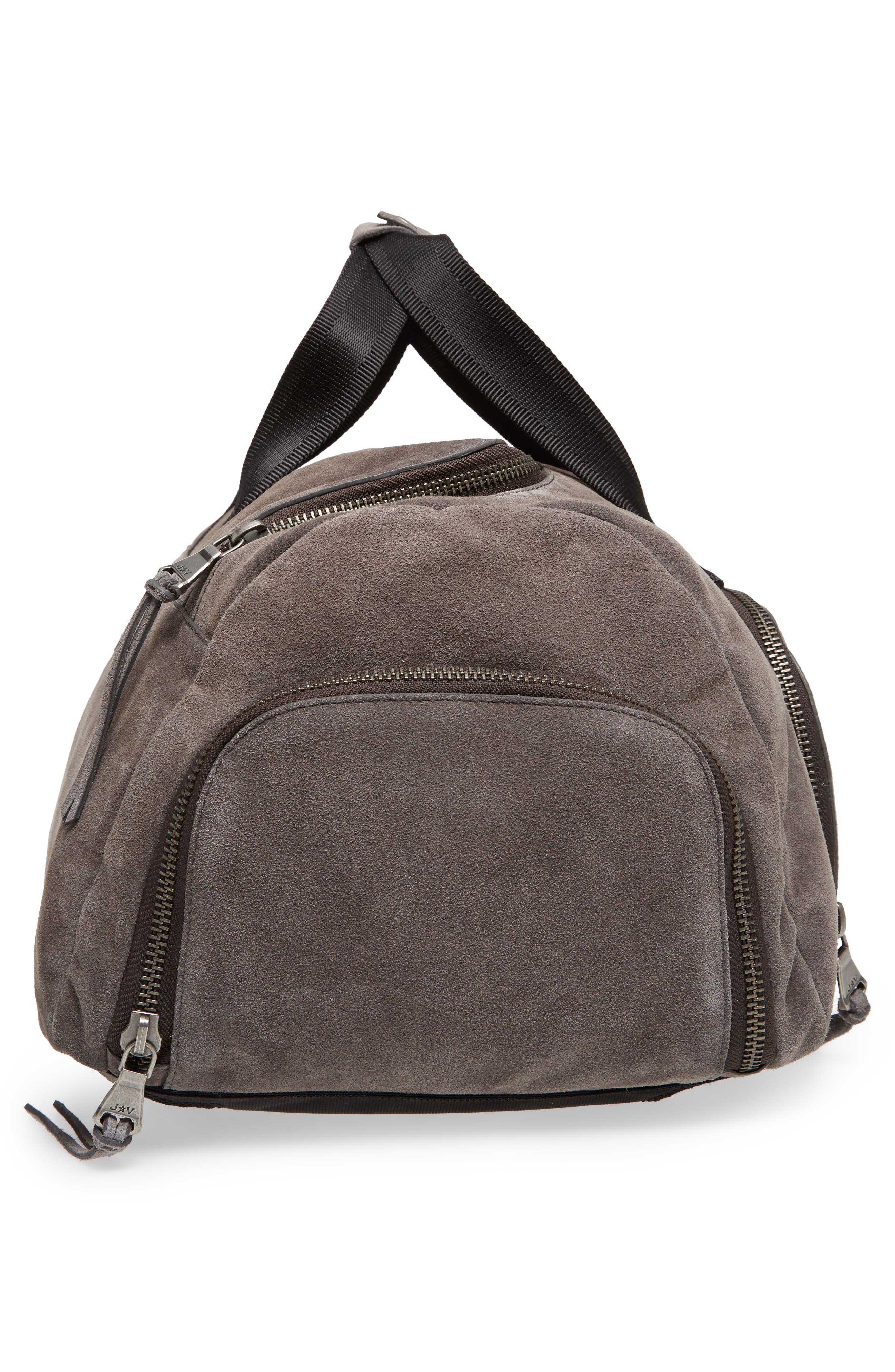 Brooklyn Suede Convertible Duffel Bag,                             Alternate thumbnail 6, color,                             Lead