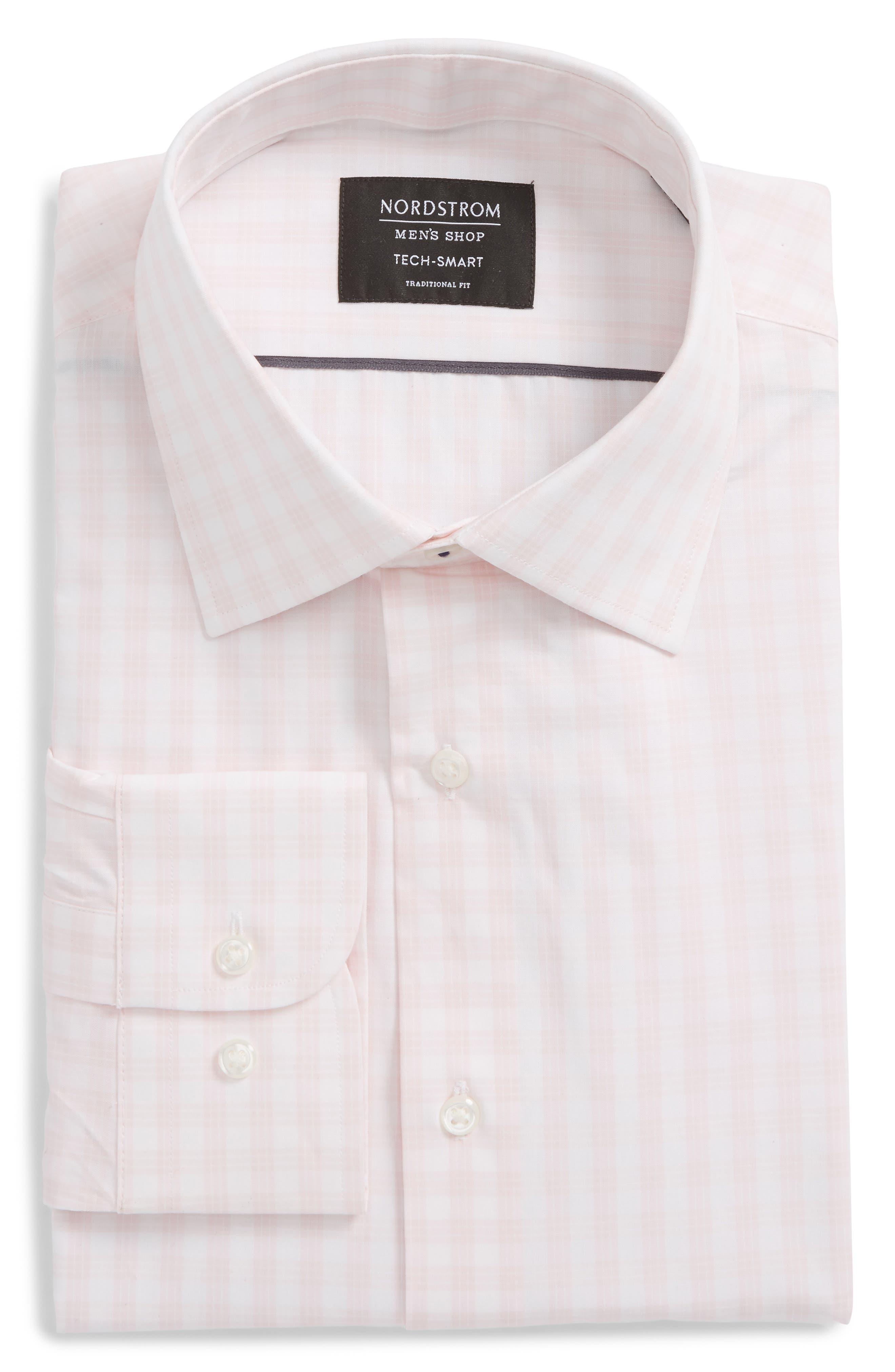 Nordstrom Men's Shop Tech Smart Traditional Fit Stretch Check Dress Shirt