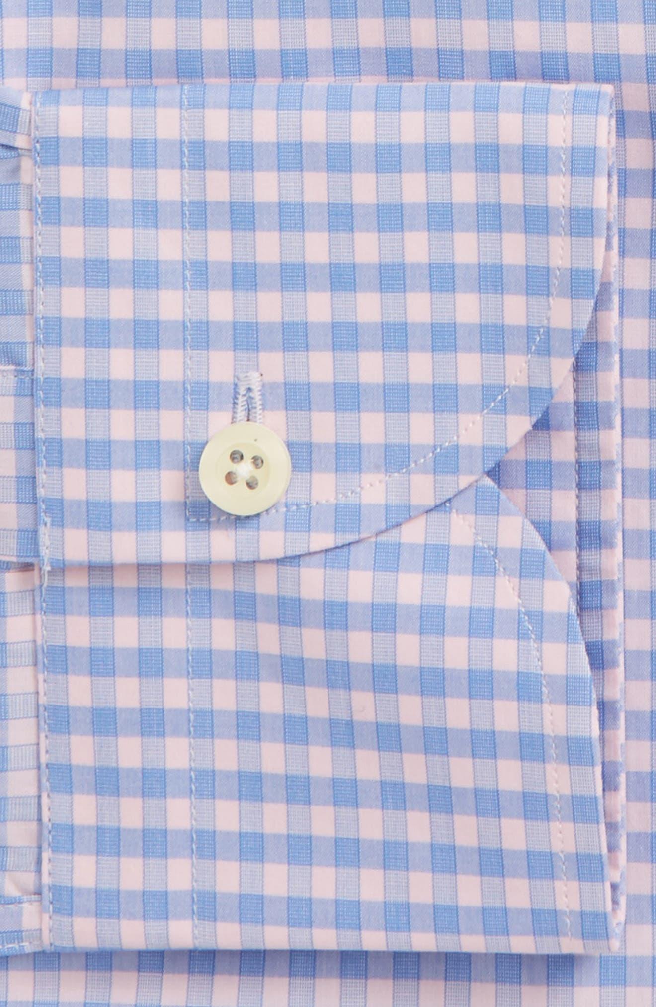 Prestwick Slim Fit Check Dress Shirt,                             Alternate thumbnail 5, color,                             Pink