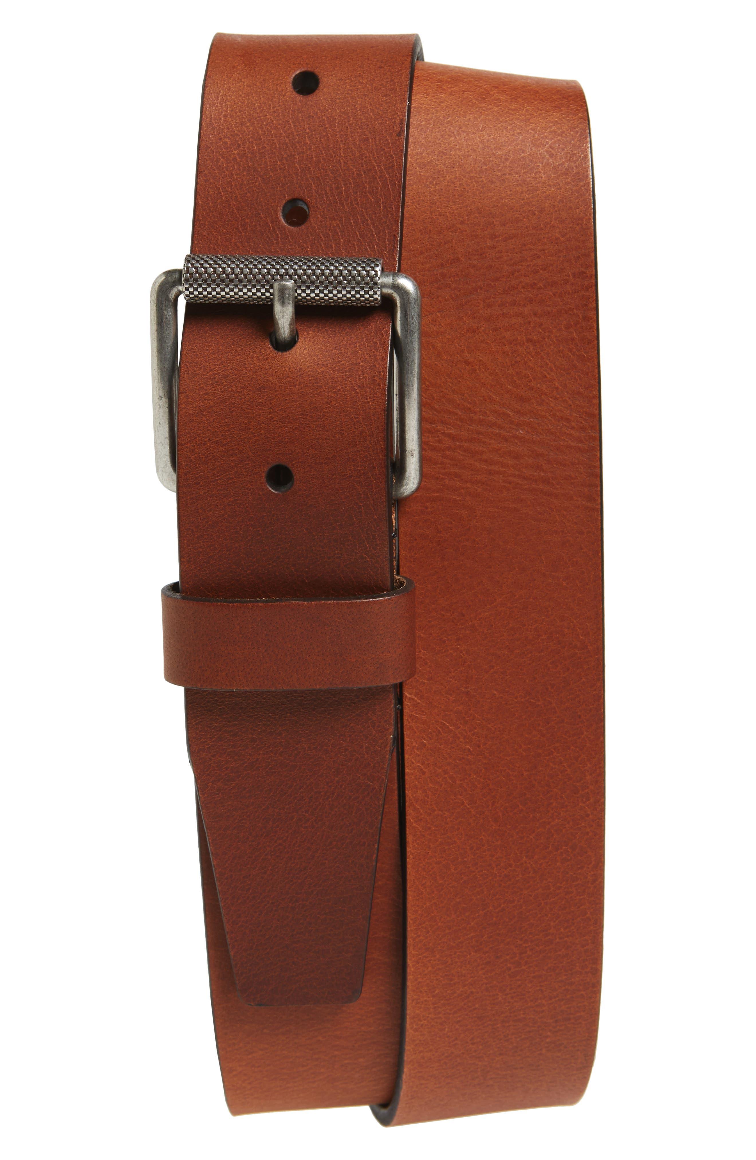 Roller Buckle Leather Belt,                             Main thumbnail 1, color,                             Cognac