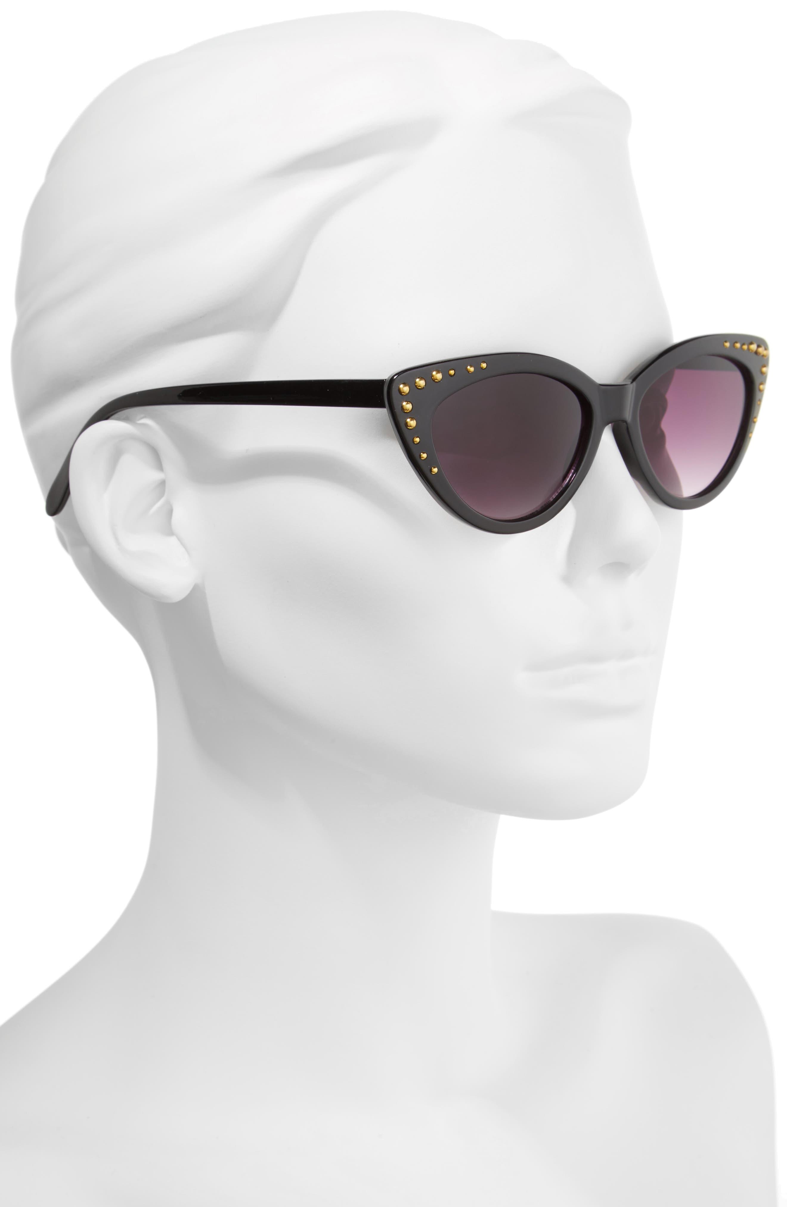 52mm Stud Detail Cat Eye Sunglasses,                             Alternate thumbnail 2, color,                             Black/ Gold