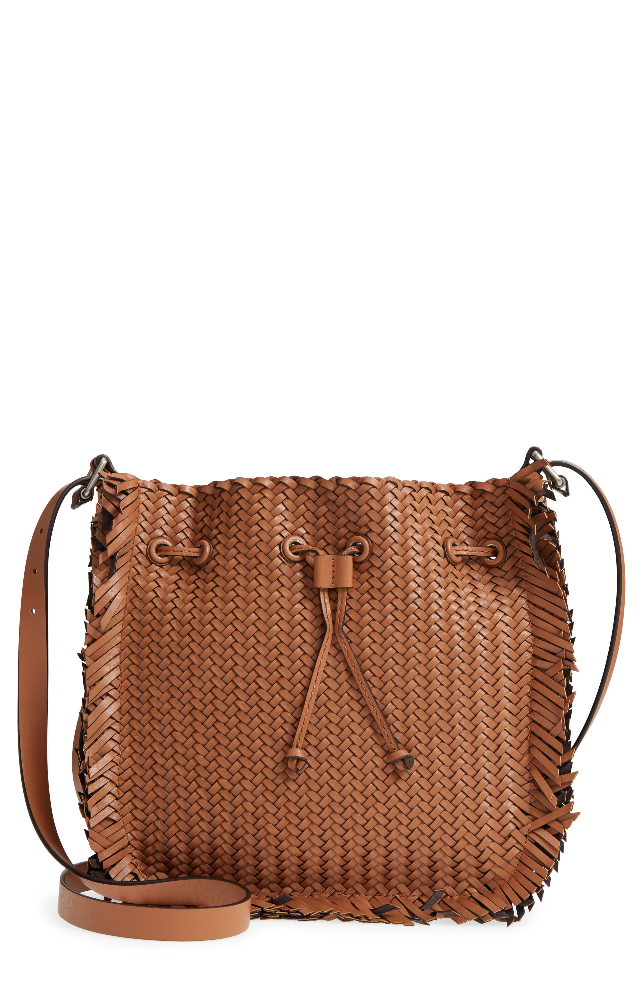 Maldives Woven Frayed Leather Crossbody Bag,                         Main,                         color, Acorn