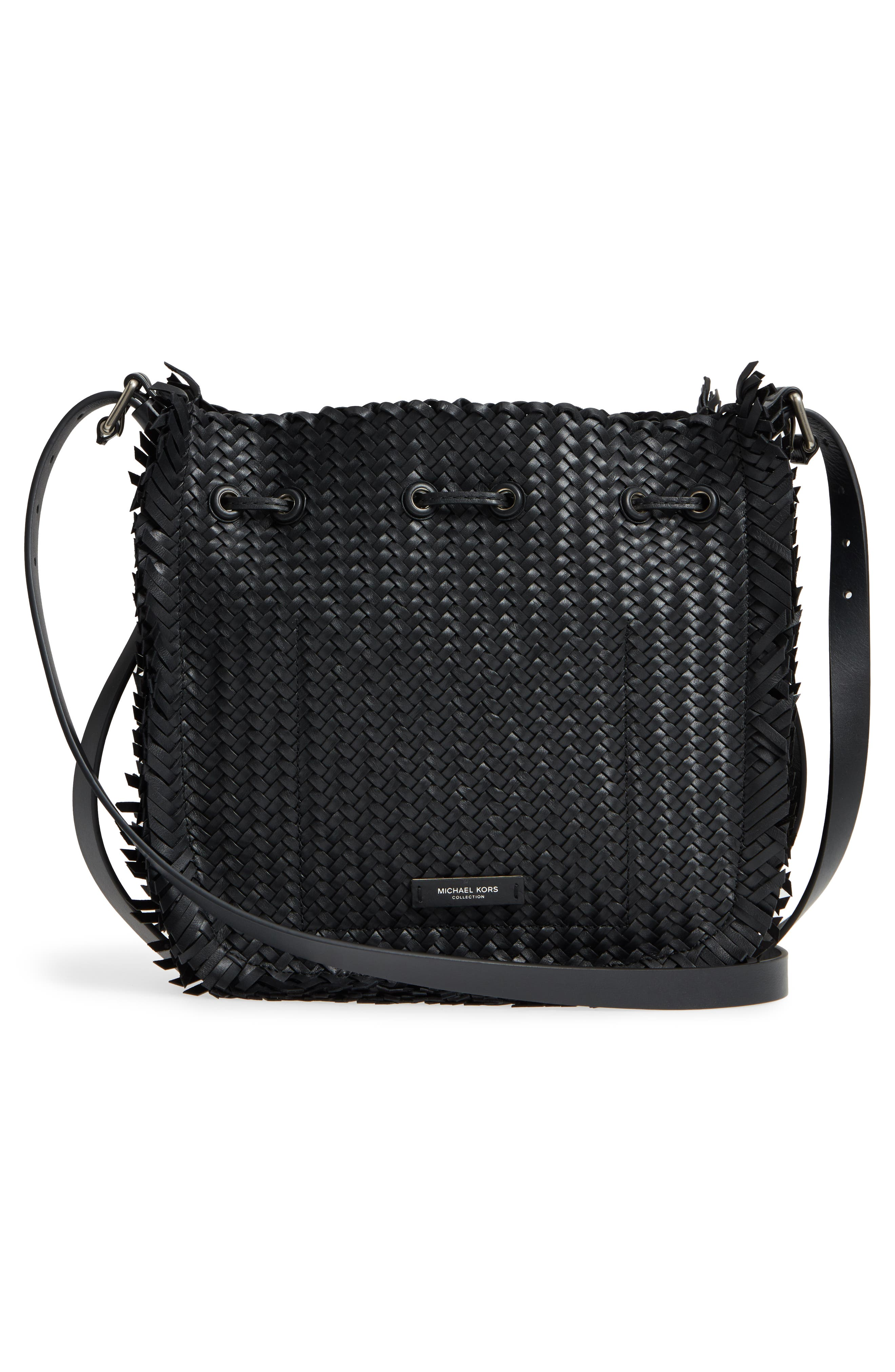 Maldives Woven Frayed Leather Tote,                             Alternate thumbnail 3, color,                             Black