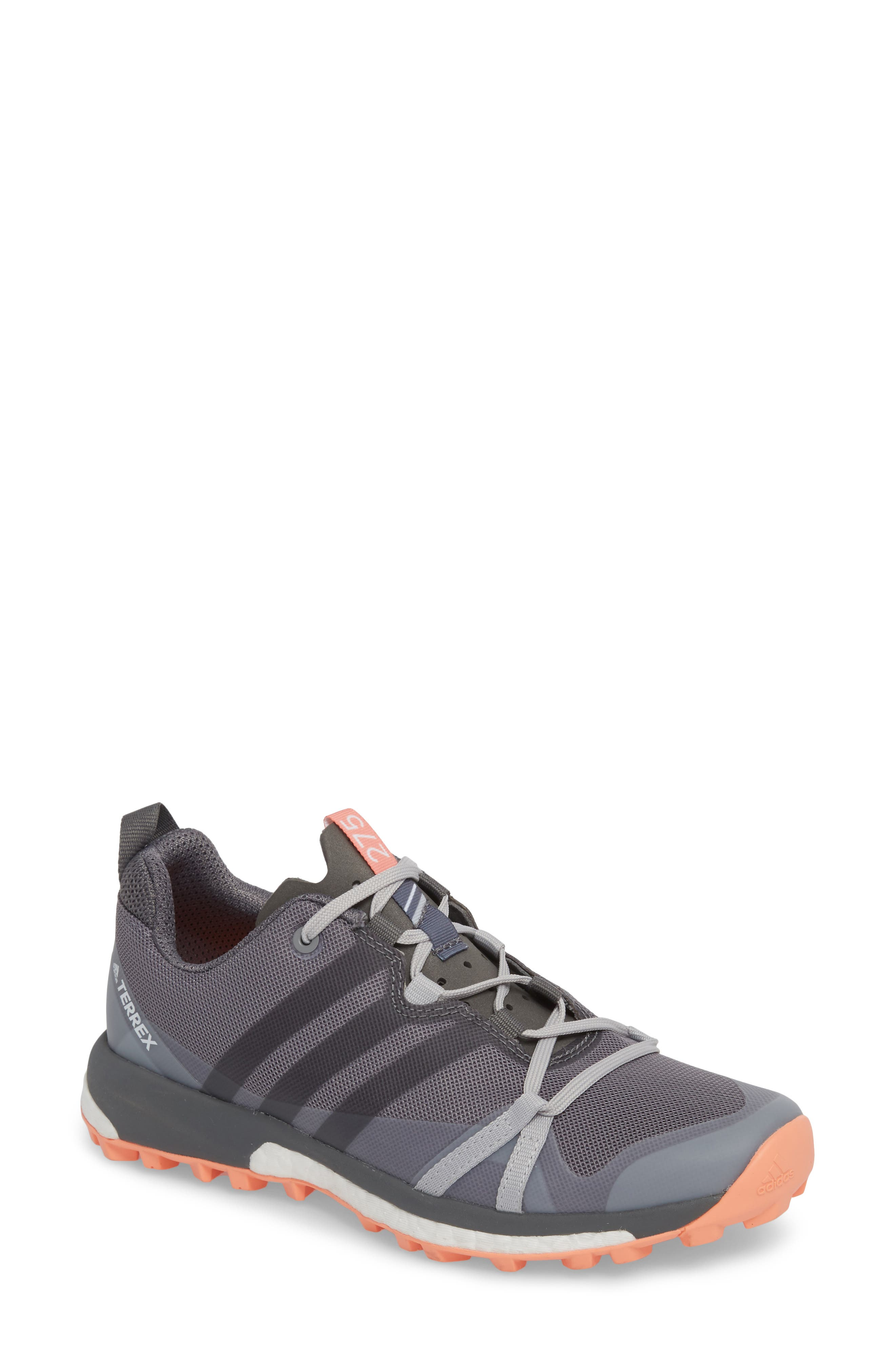 Terrex Agravic Trail Running Shoe,                             Main thumbnail 1, color,                             Grey Three/ Grey Four/ Coral
