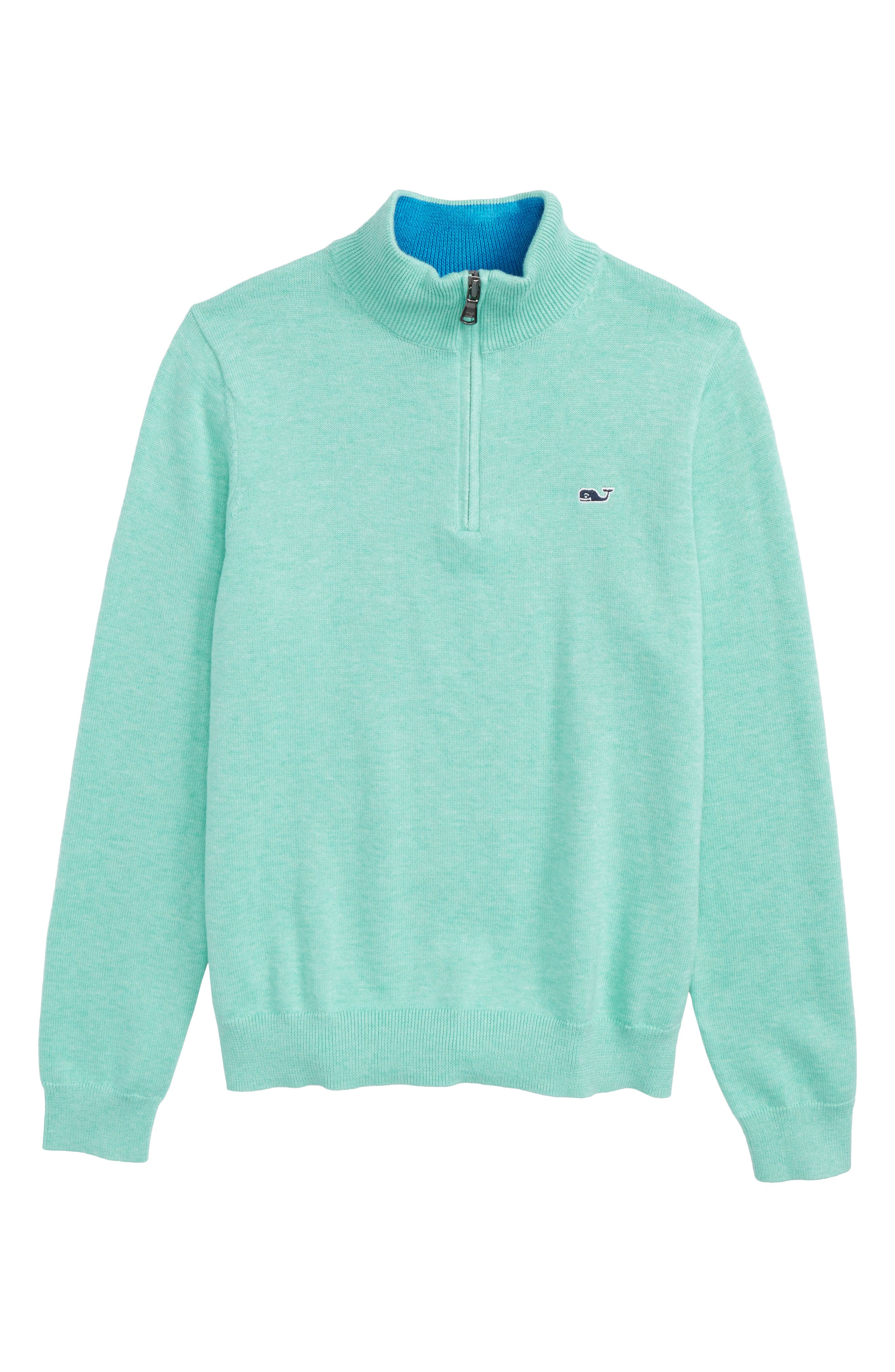 Mock Neck Quarter Zip Pullover,                             Main thumbnail 1, color,                             Sea Foam