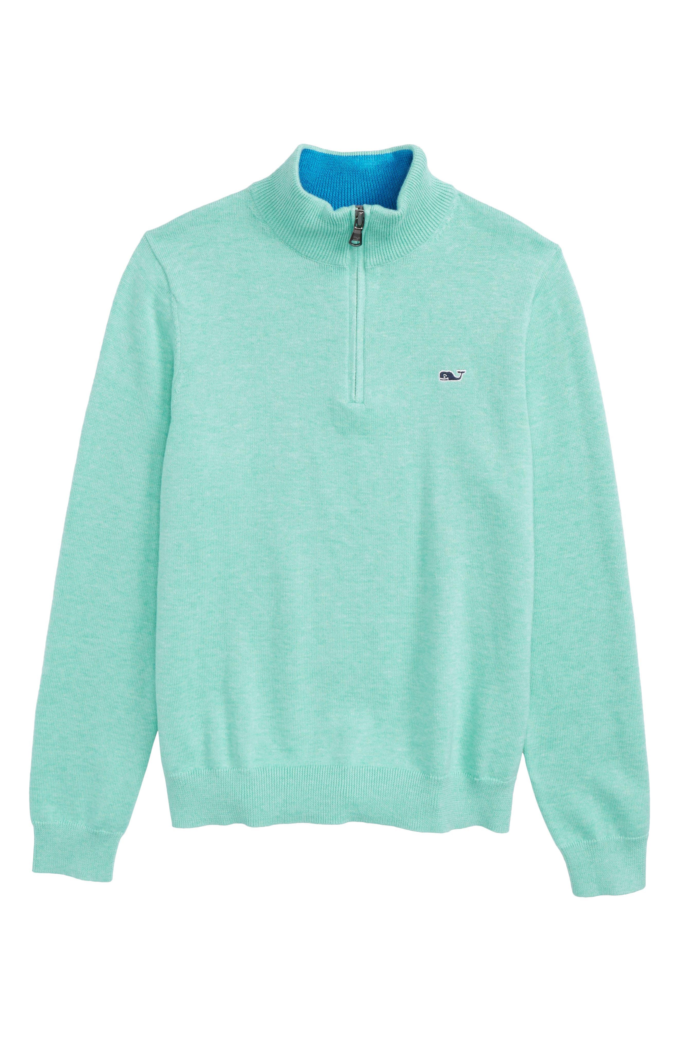 Mock Neck Quarter Zip Pullover,                         Main,                         color, Sea Foam