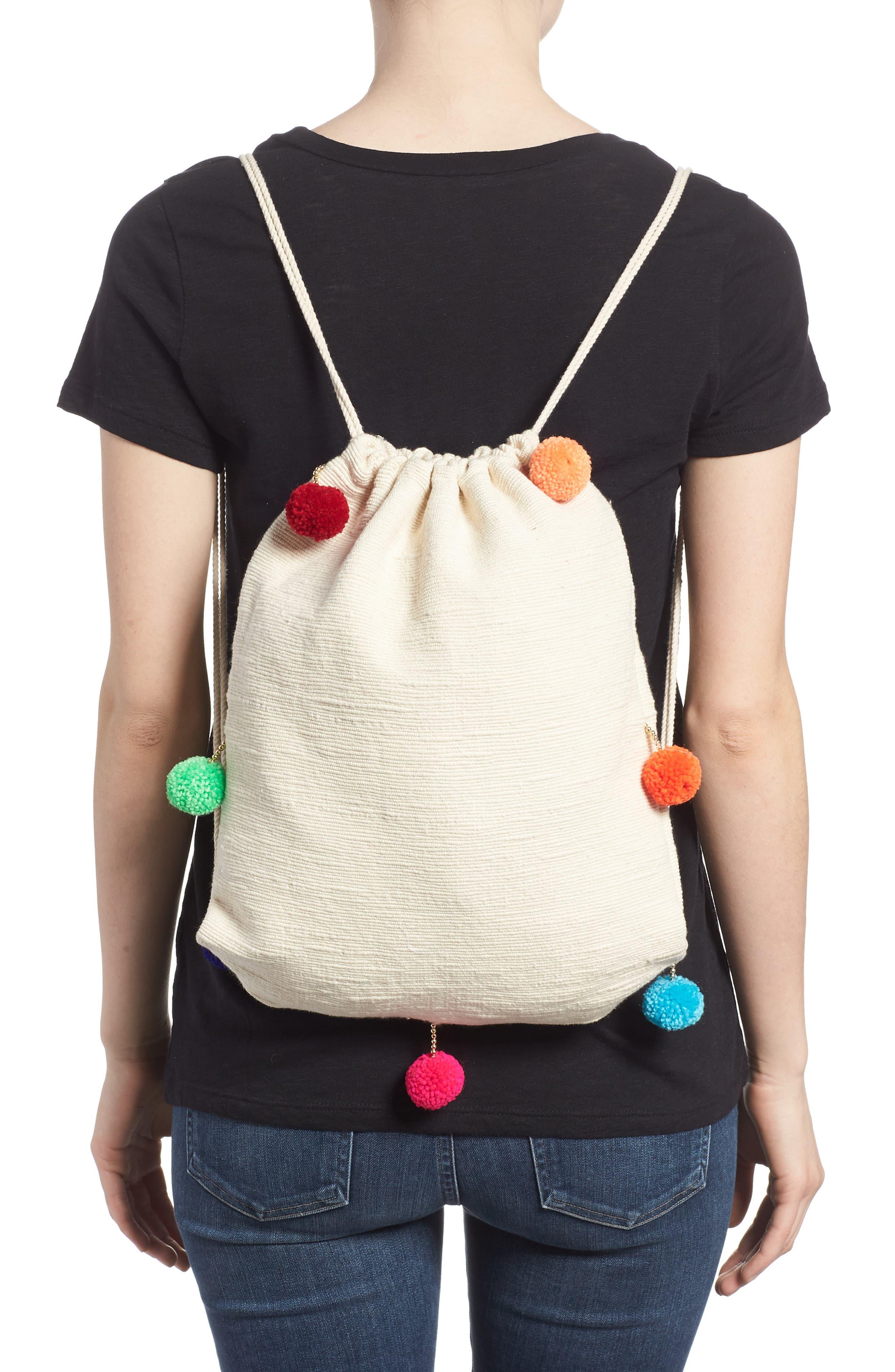 Pompom Drawstring Bag,                             Alternate thumbnail 2, color,                             Caramel