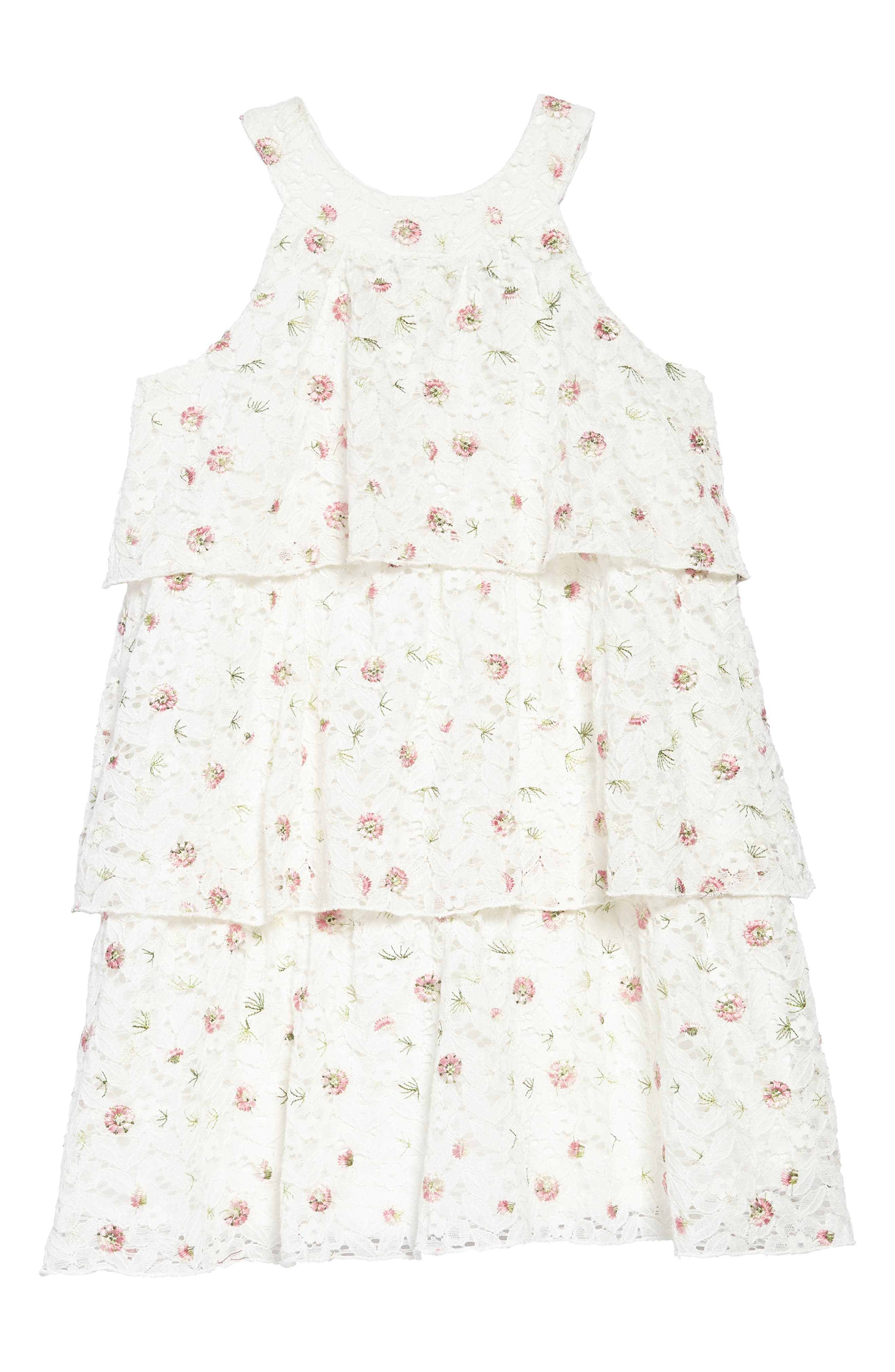 Embroidered Lace Tiered Dress,                         Main,                         color, Ivory/ Multi