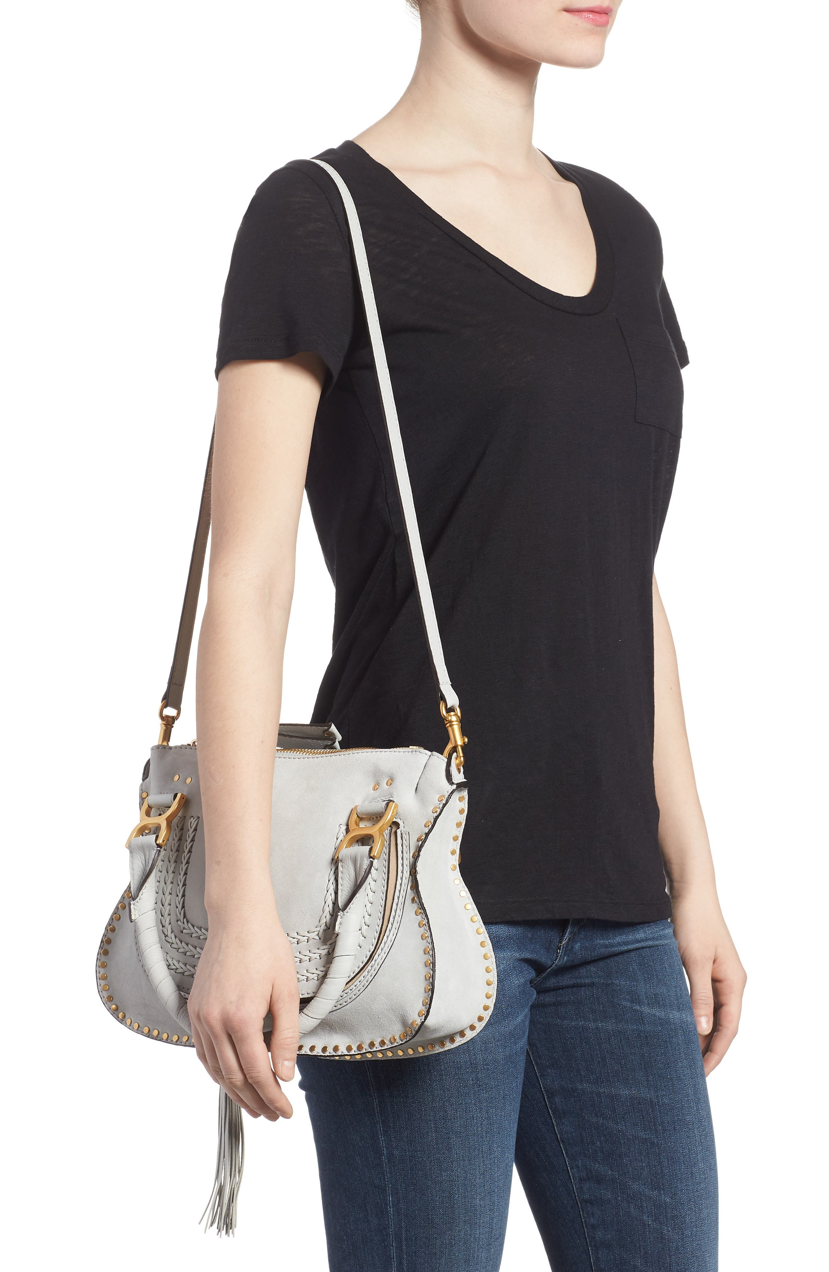 Small Marcie Suede Satchel,                             Alternate thumbnail 2, color,                             Airy Grey