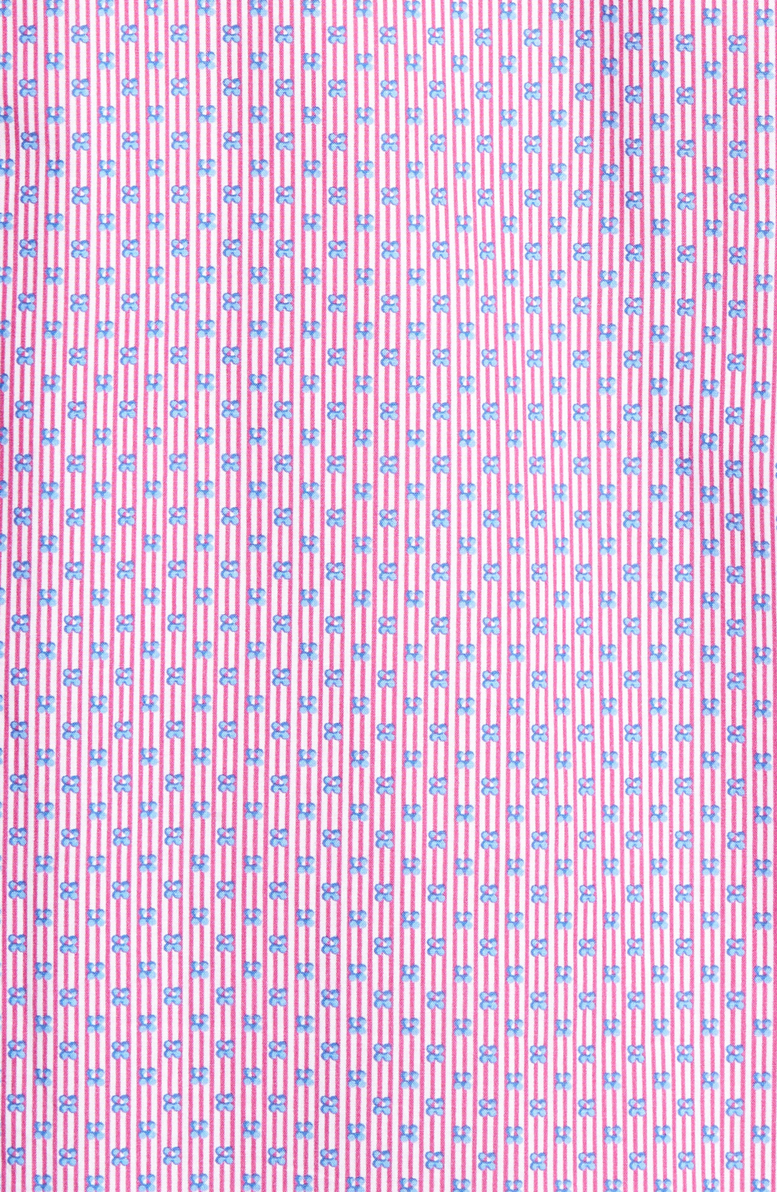 Flowers & Pinstripes Shaped Fit Sport Shirt,                             Alternate thumbnail 5, color,                             Pink