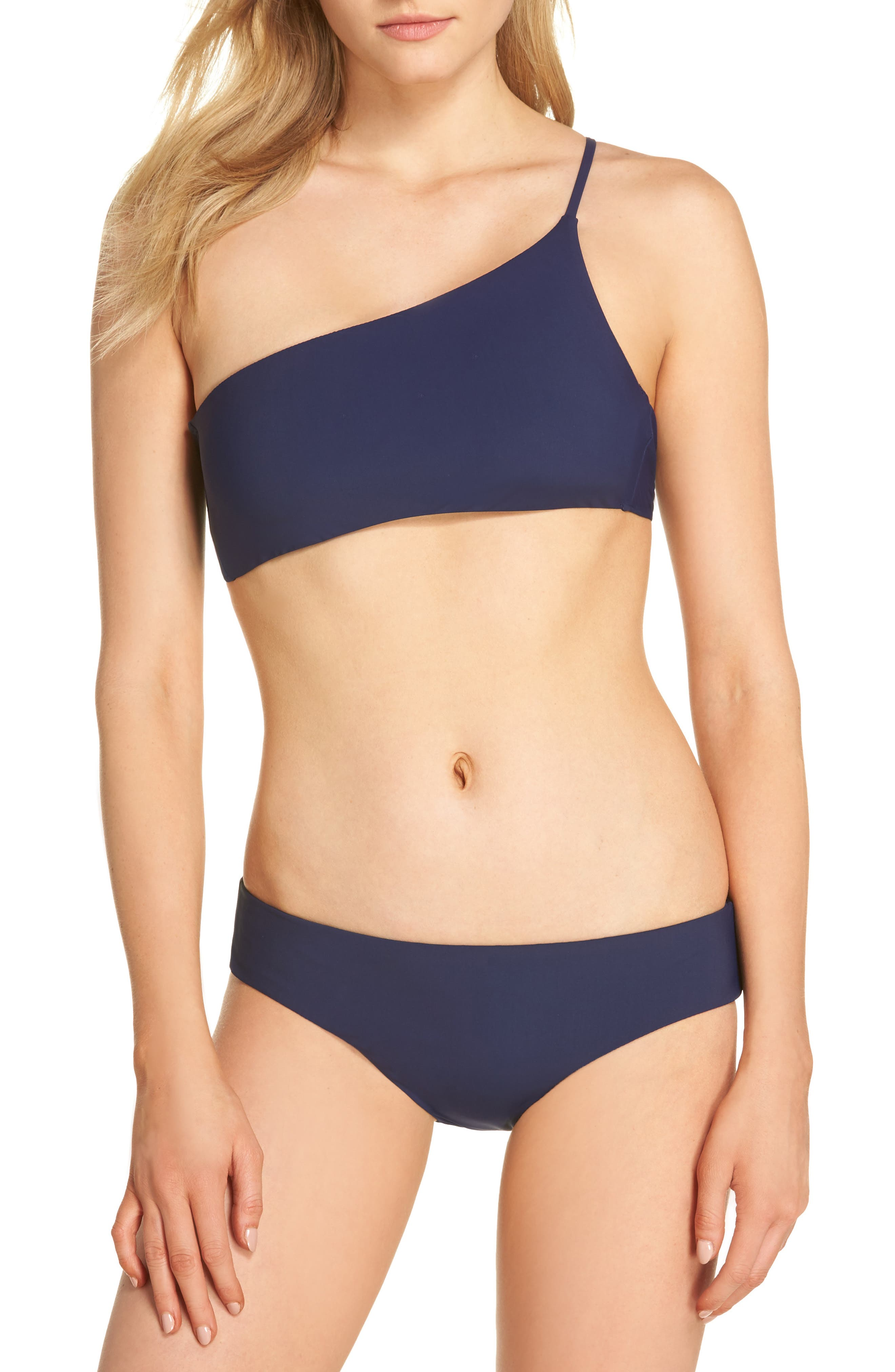 Better Than Ever One-Shoulder Bikini Top,                             Alternate thumbnail 5, color,                             Midnight