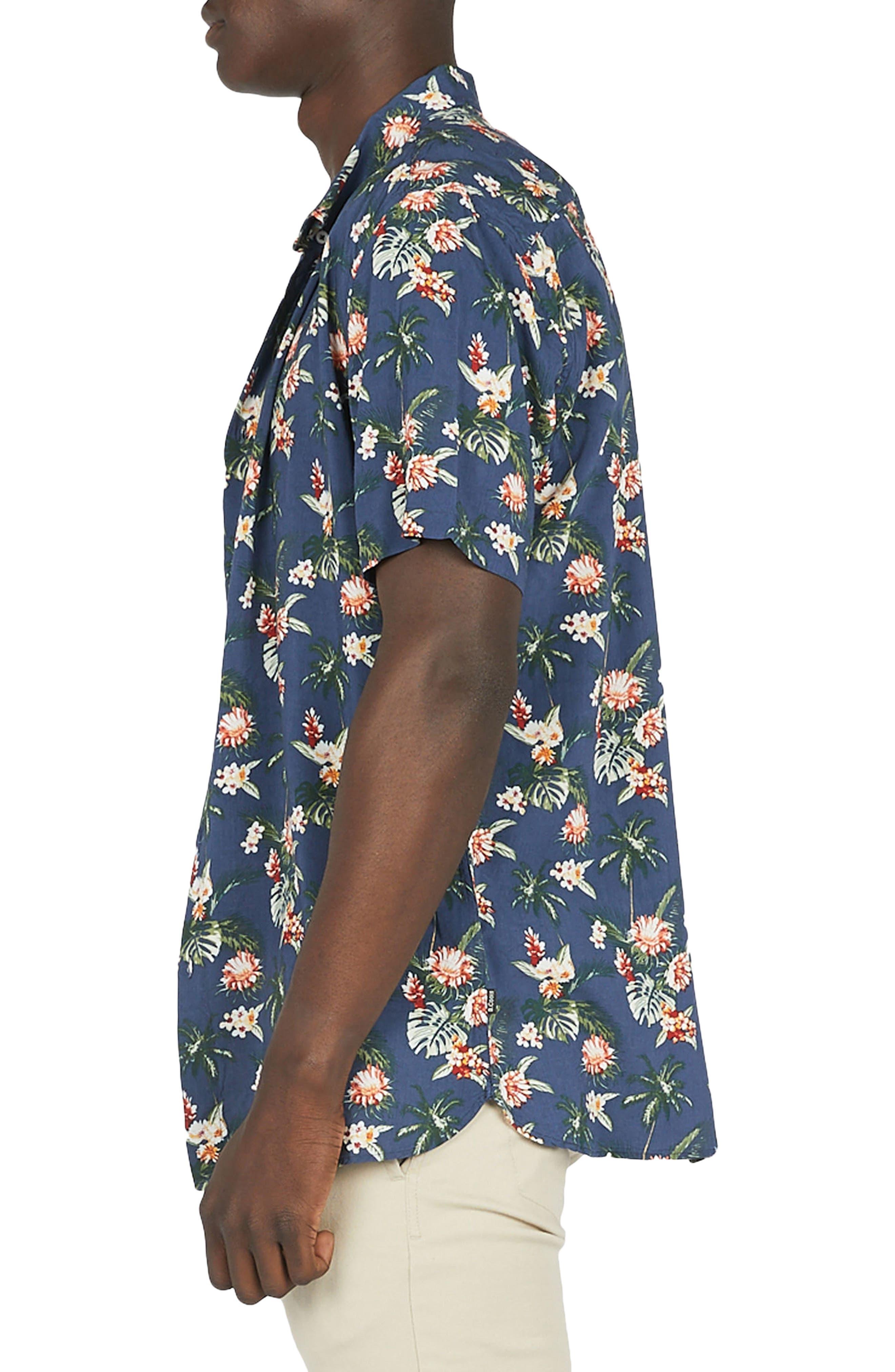 Holiday Woven Shirt,                             Alternate thumbnail 3, color,                             Navy Hawaii