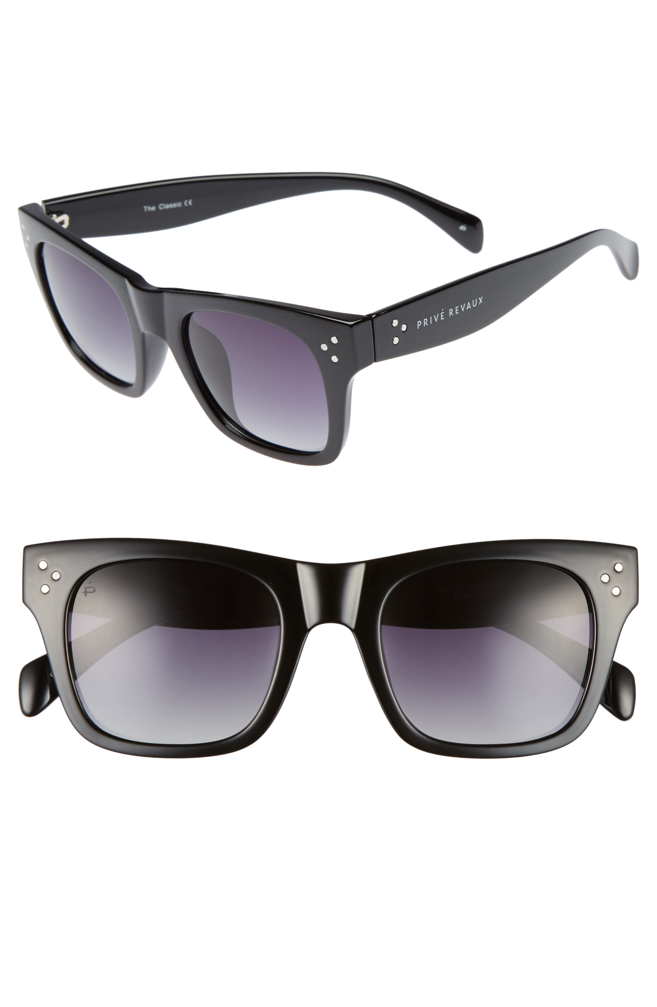 Privé Revaux The Classic 51mm Polarized Square Sunglasses,                             Main thumbnail 1, color,                             Black
