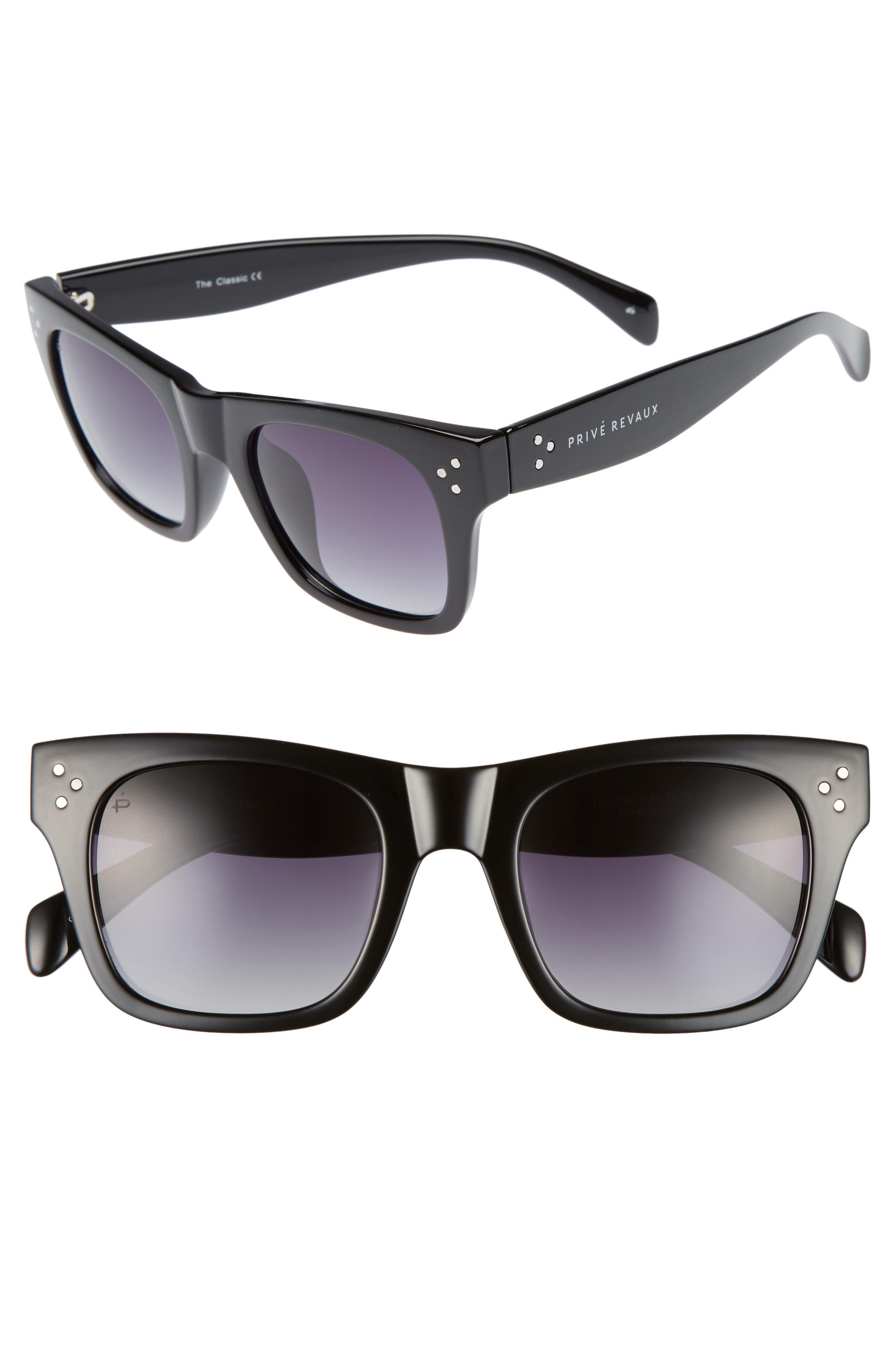 Privé Revaux The Classic 51mm Polarized Square Sunglasses,                         Main,                         color, Black