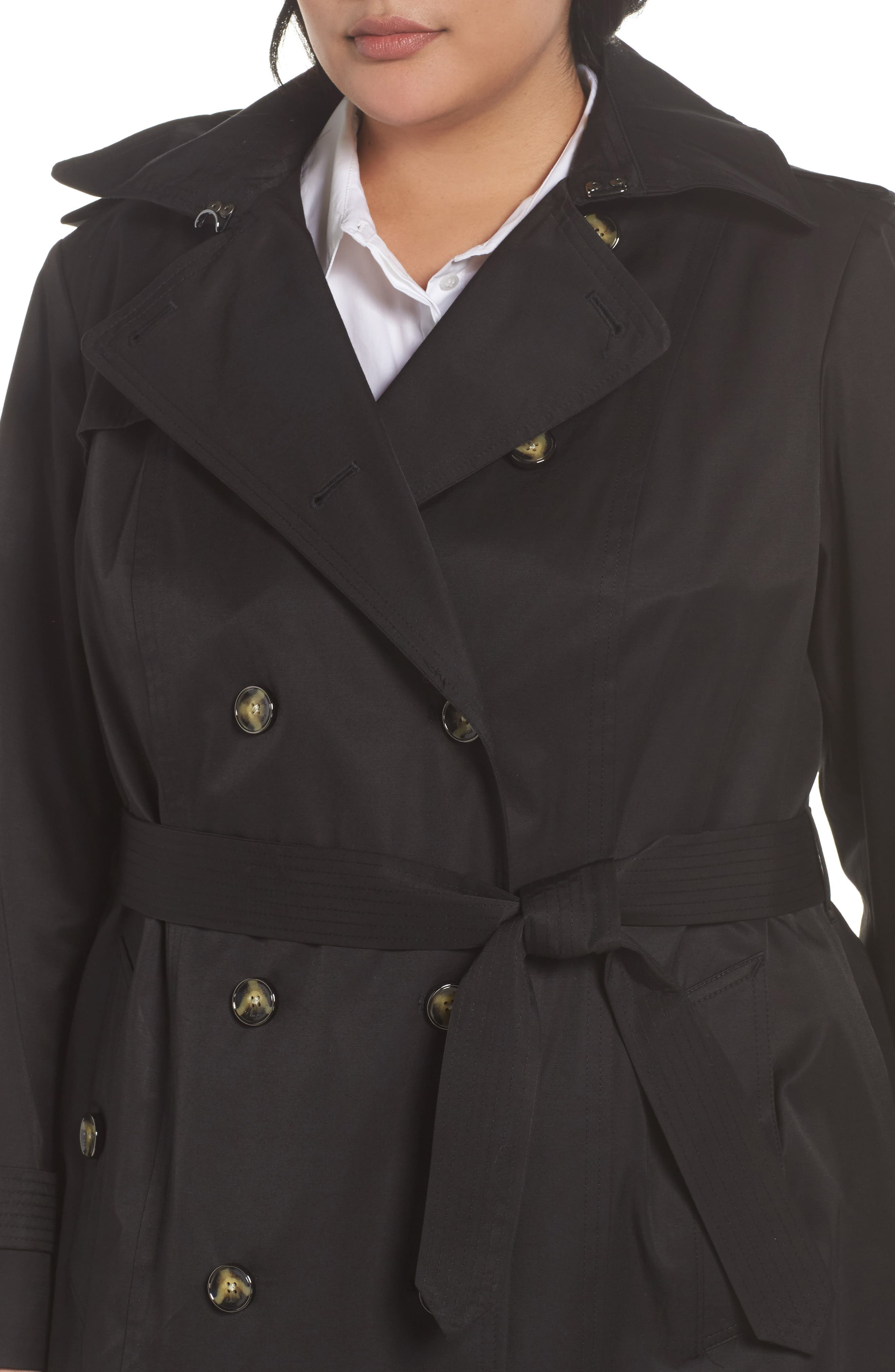Alternate Image 4  - London Fog Hooded Double Breasted Trench Coat (Plus Size)