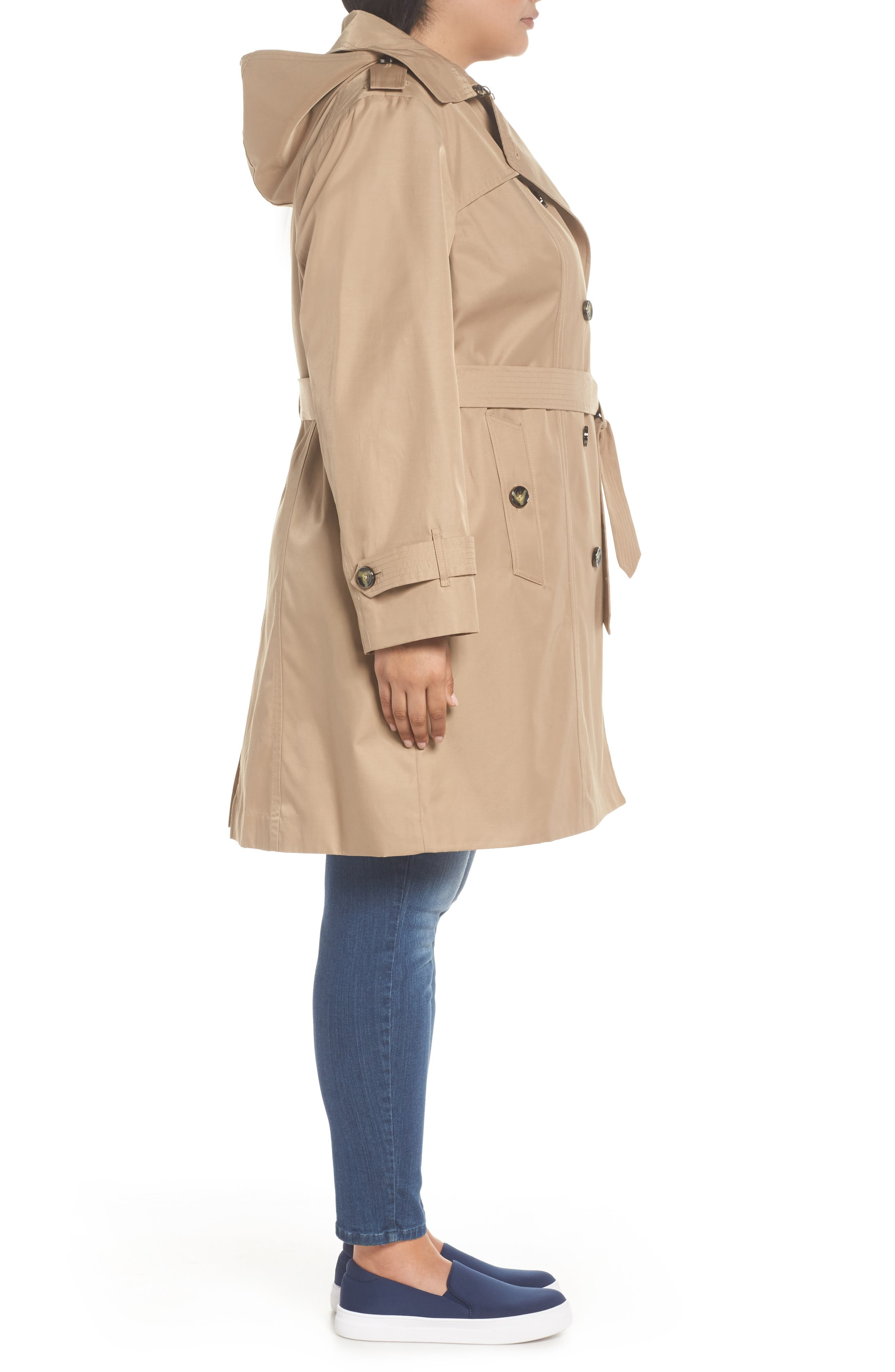 Hooded Double Breasted Trench Coat,                             Alternate thumbnail 3, color,                             Br Khaki