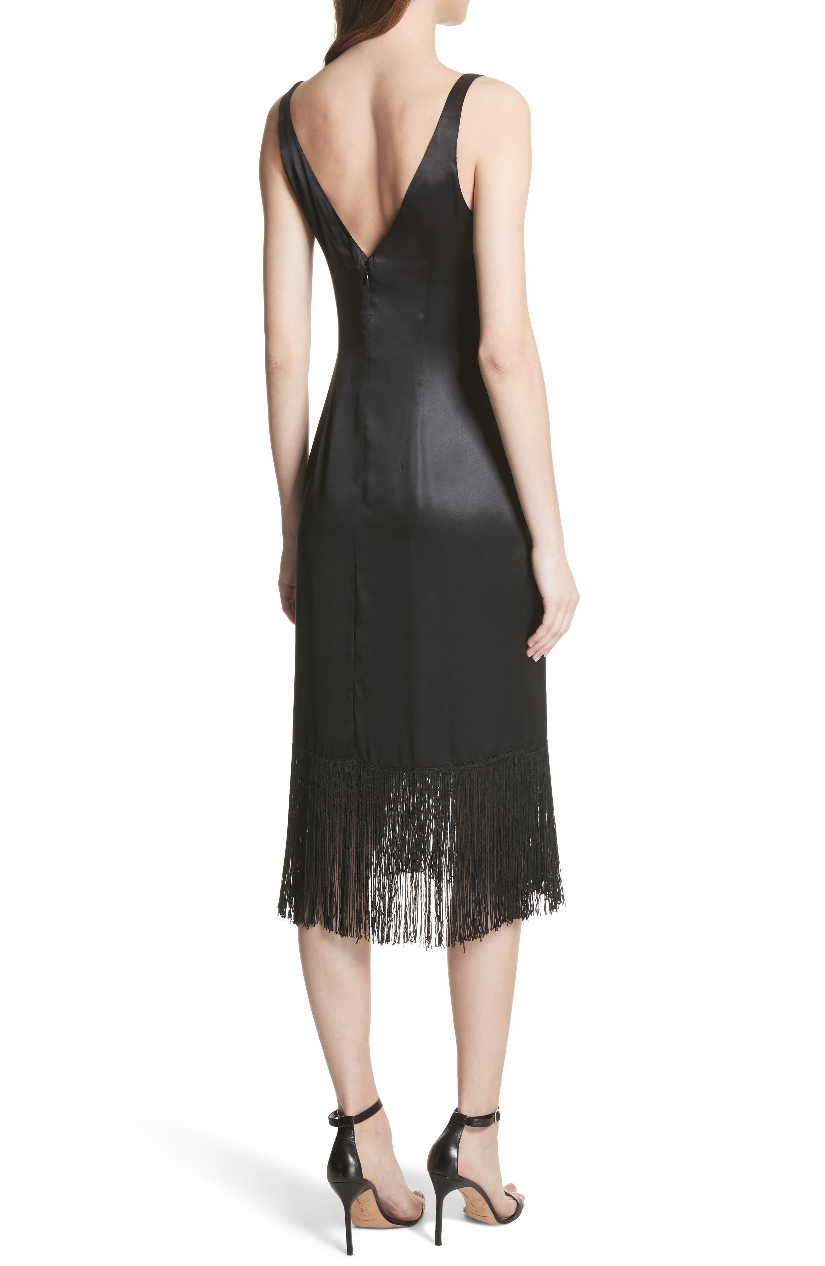 Fringe Silk Midi Dress,                             Alternate thumbnail 2, color,                             Black