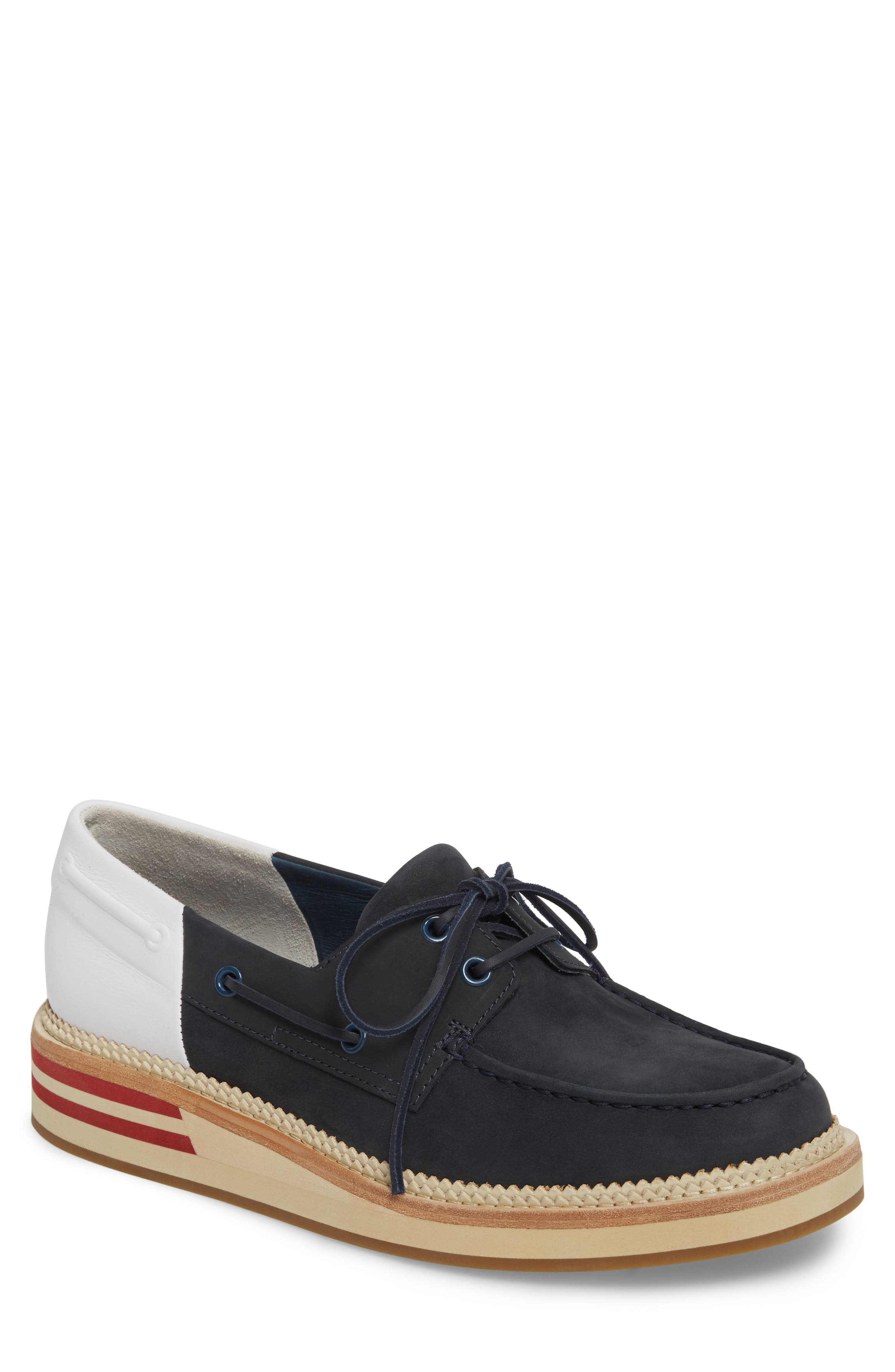 Cloud Colorblocked Boat Shoe,                         Main,                         color, Navy/ White