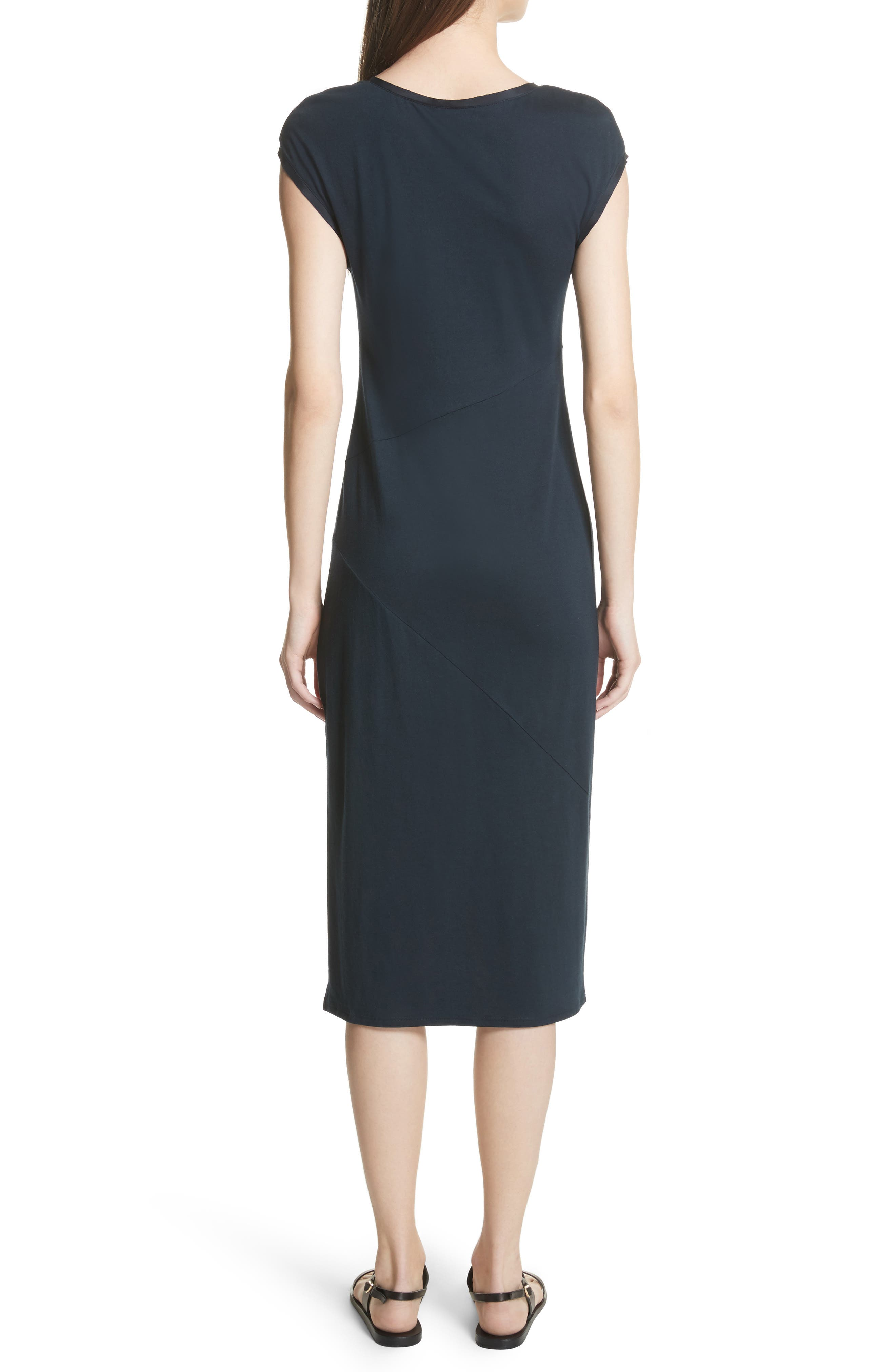 Plume Seamed Cotton Blend Jersey Dress,                             Alternate thumbnail 2, color,                             Deep Navy