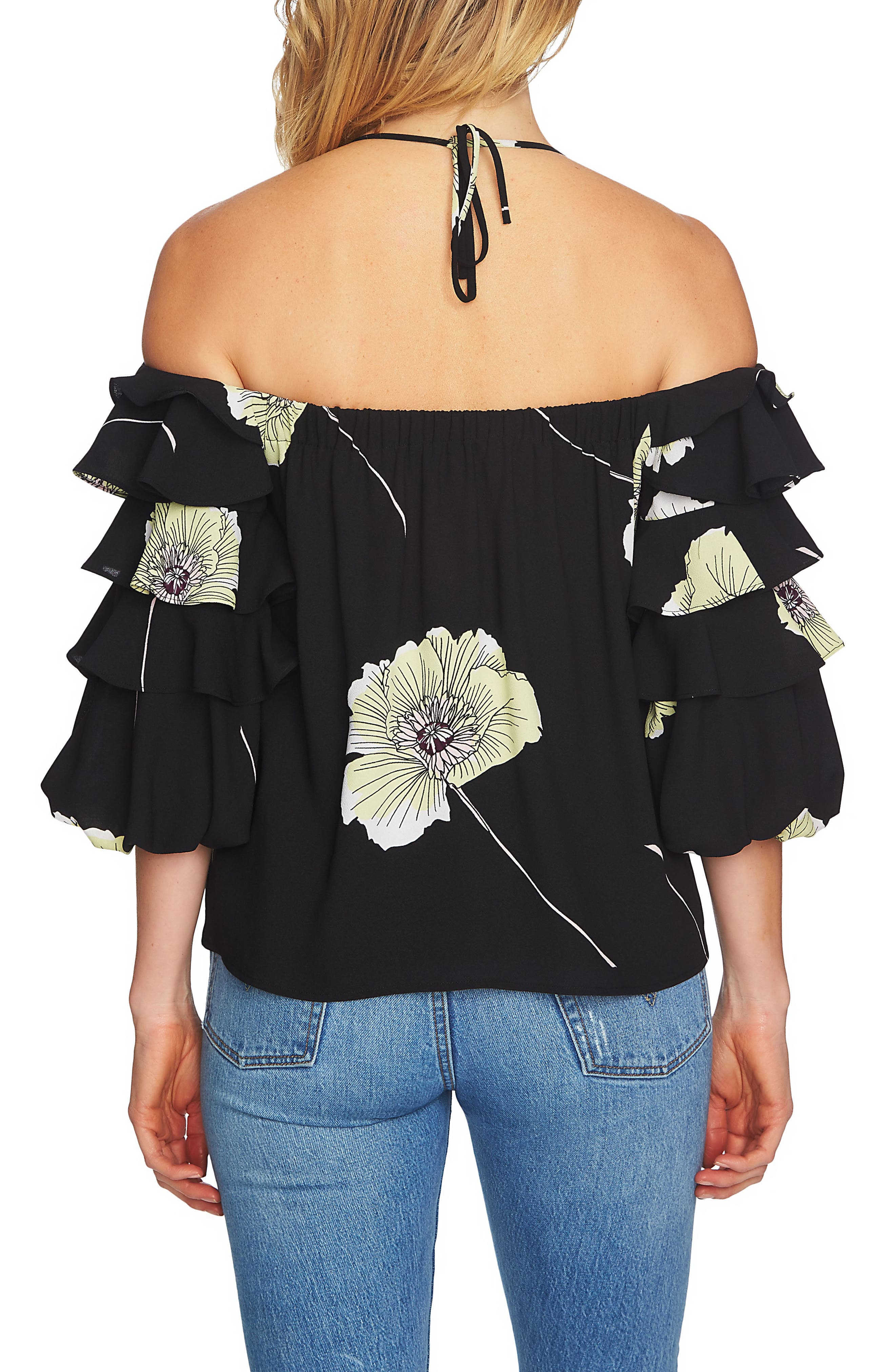 Tiered Sleeve Off the Shoulder Top,                             Alternate thumbnail 2, color,                             060-Rich Black