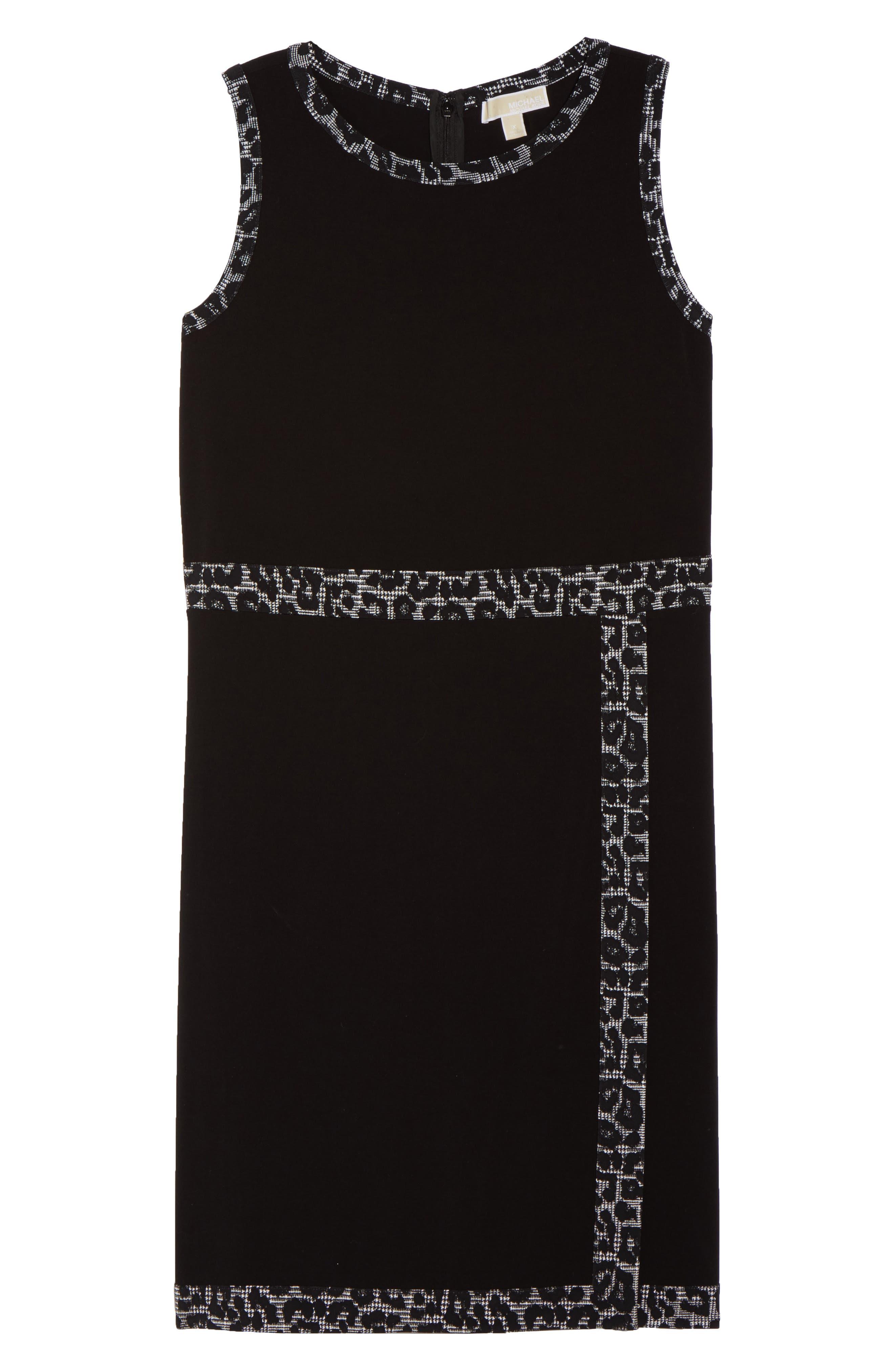 Print Trim Mock Wrap Sheath Dress,                             Alternate thumbnail 6, color,                             Black