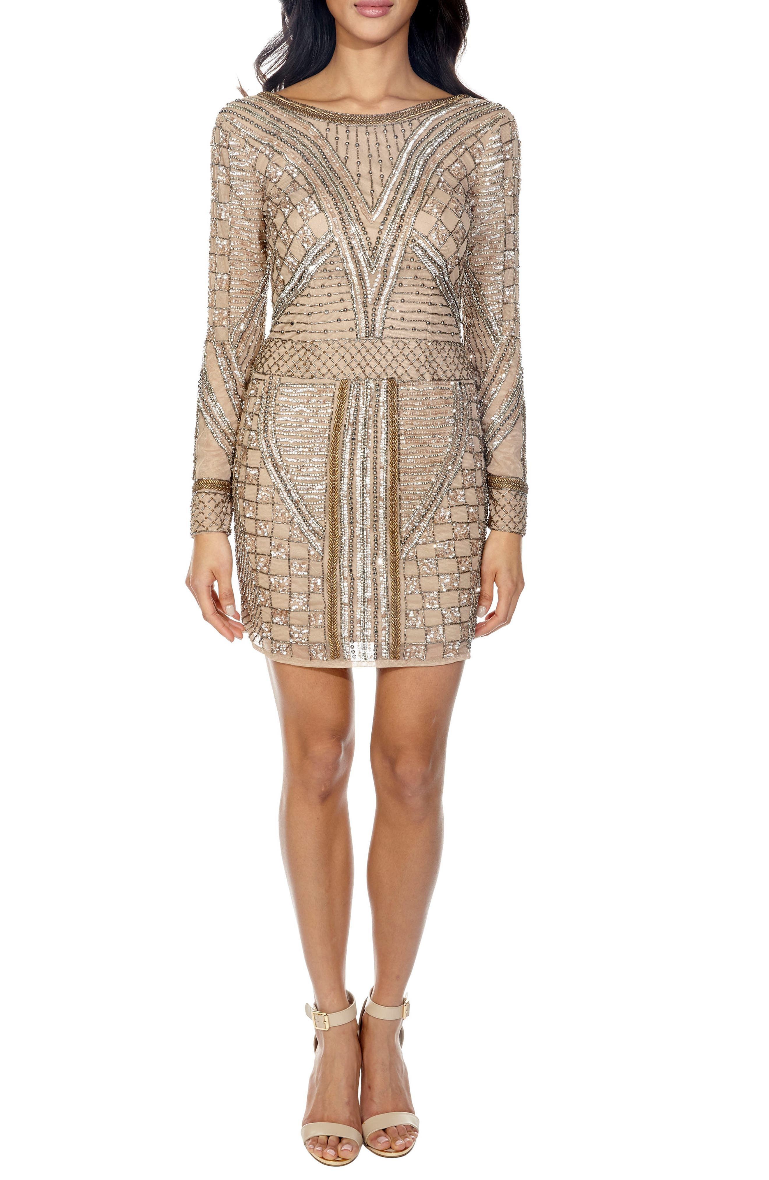 Hyacinth Sparkle Minidress,                             Main thumbnail 1, color,                             Taupe