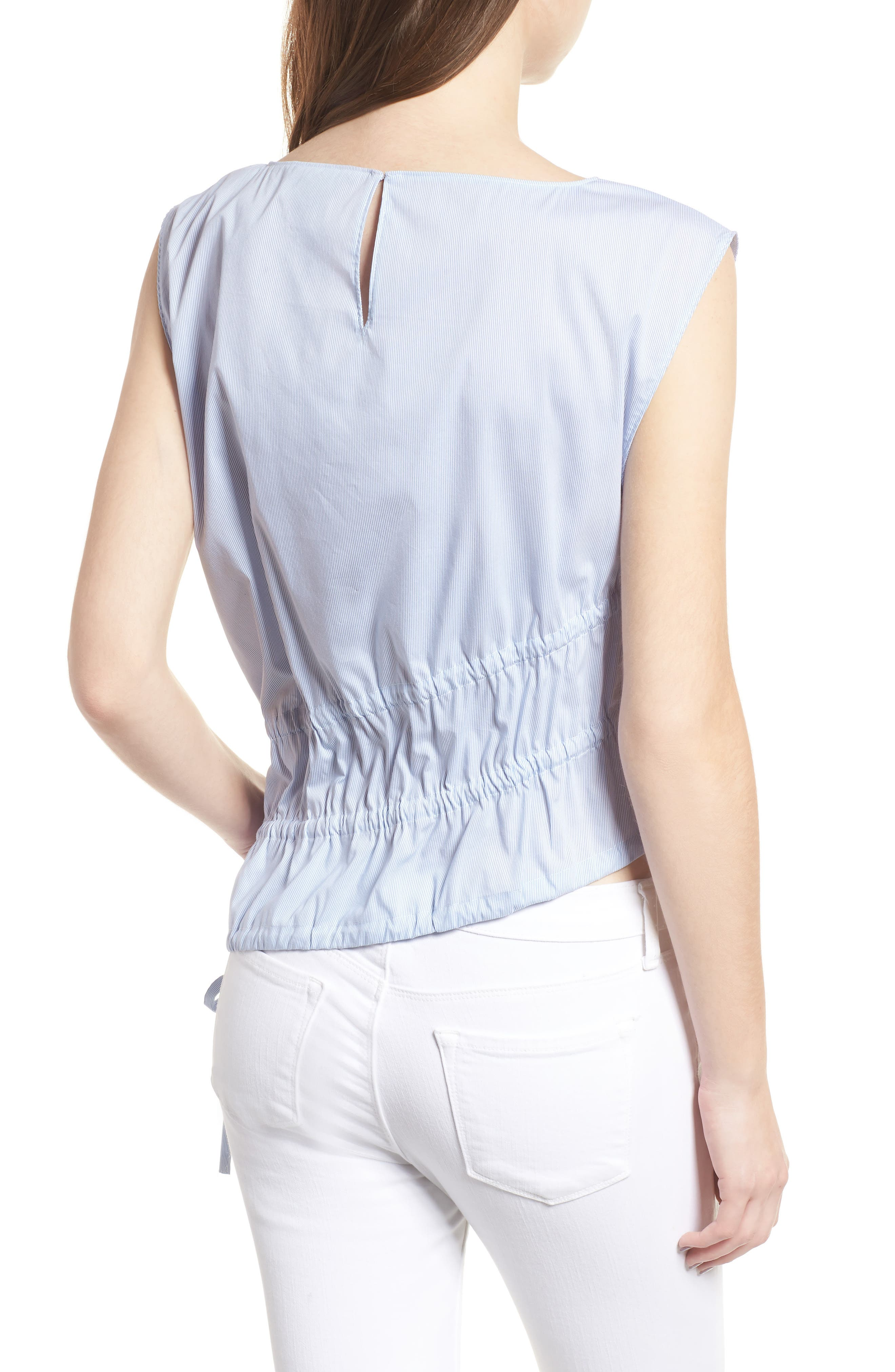 Ruched Poplin Top,                             Alternate thumbnail 3, color,                             Blue/ White Pinstripe