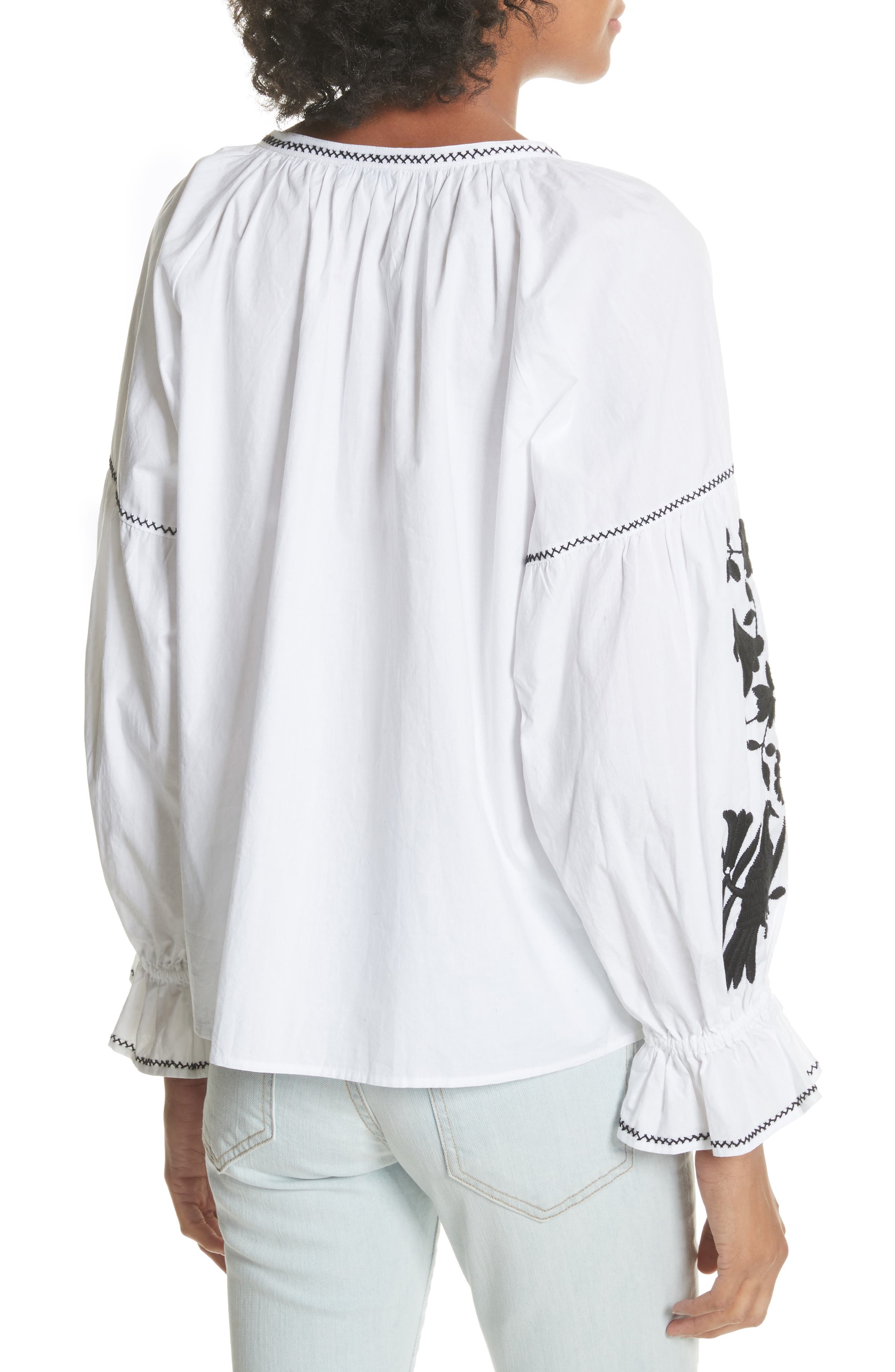Cleavanta Embroidered Peasant Blouse,                             Alternate thumbnail 2, color,                             Clean White Caviar