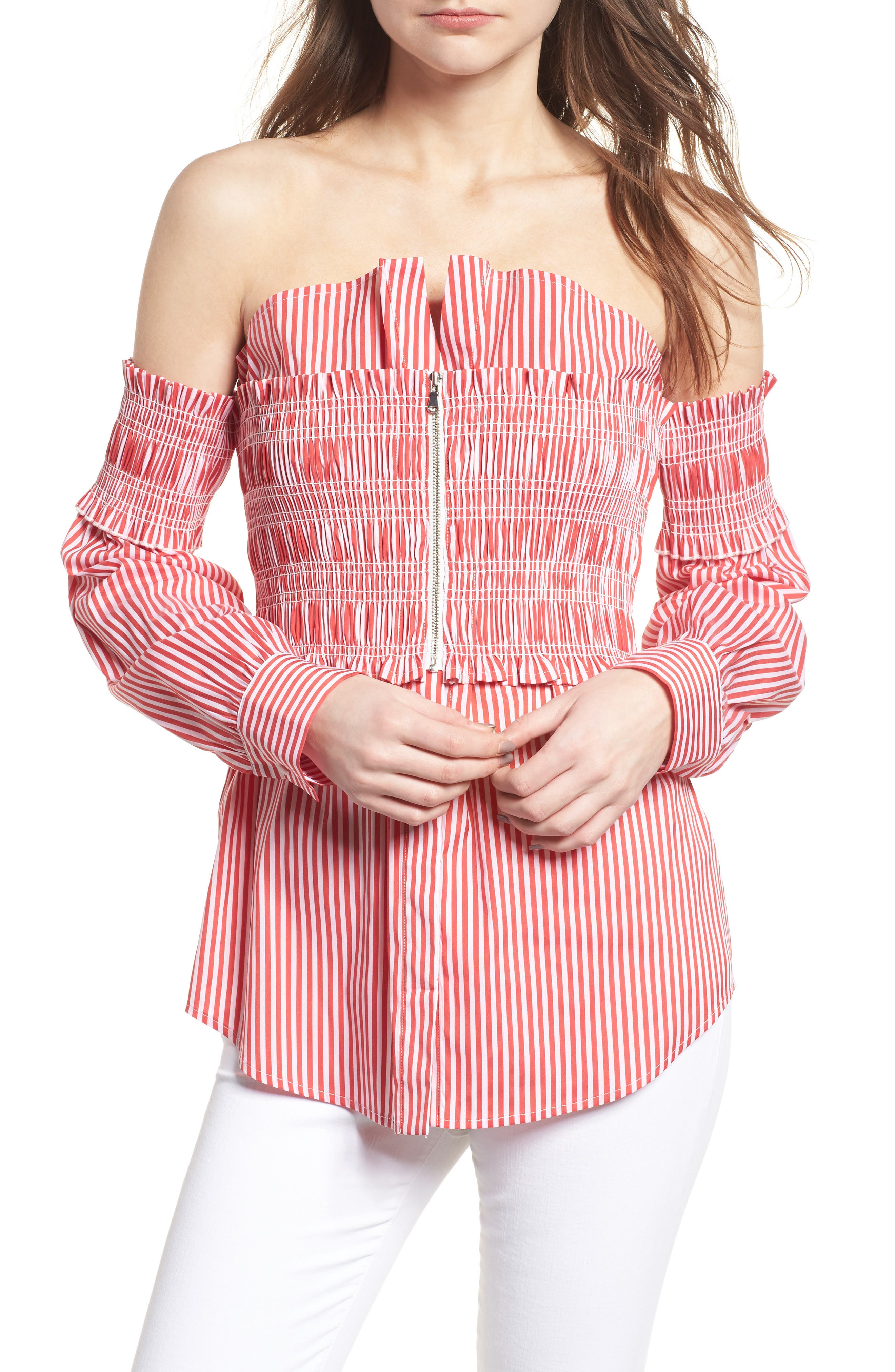 Stripe Smocked Corset Shirt,                             Main thumbnail 1, color,                             Red/ White Lucy Stripe