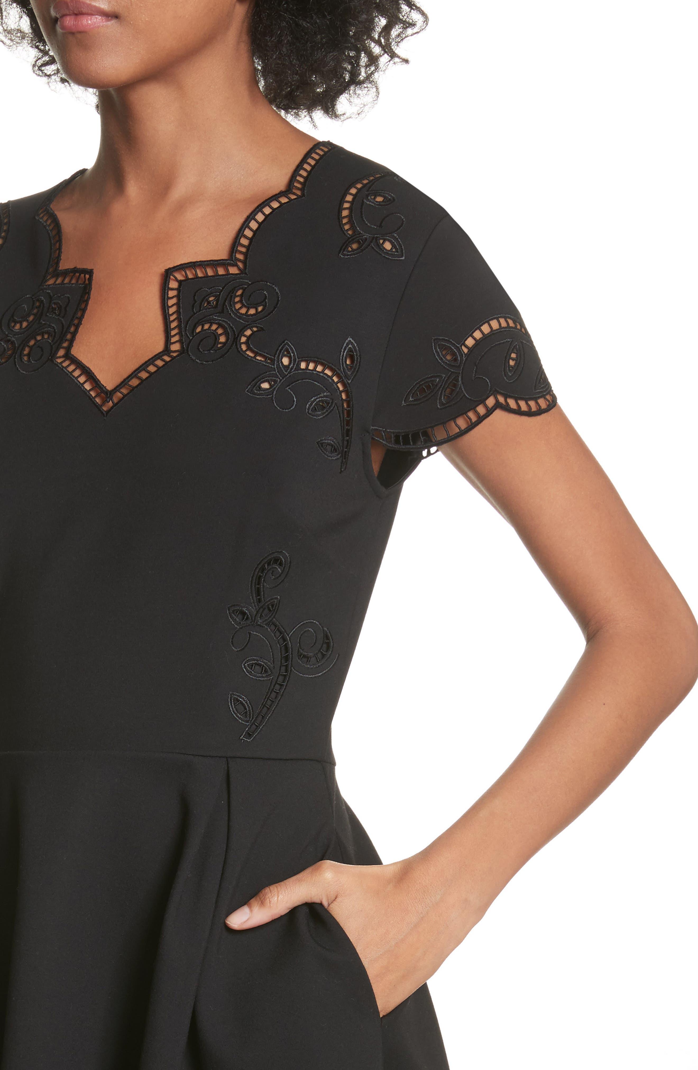 Embroidered Skater Dress,                             Alternate thumbnail 4, color,                             Black