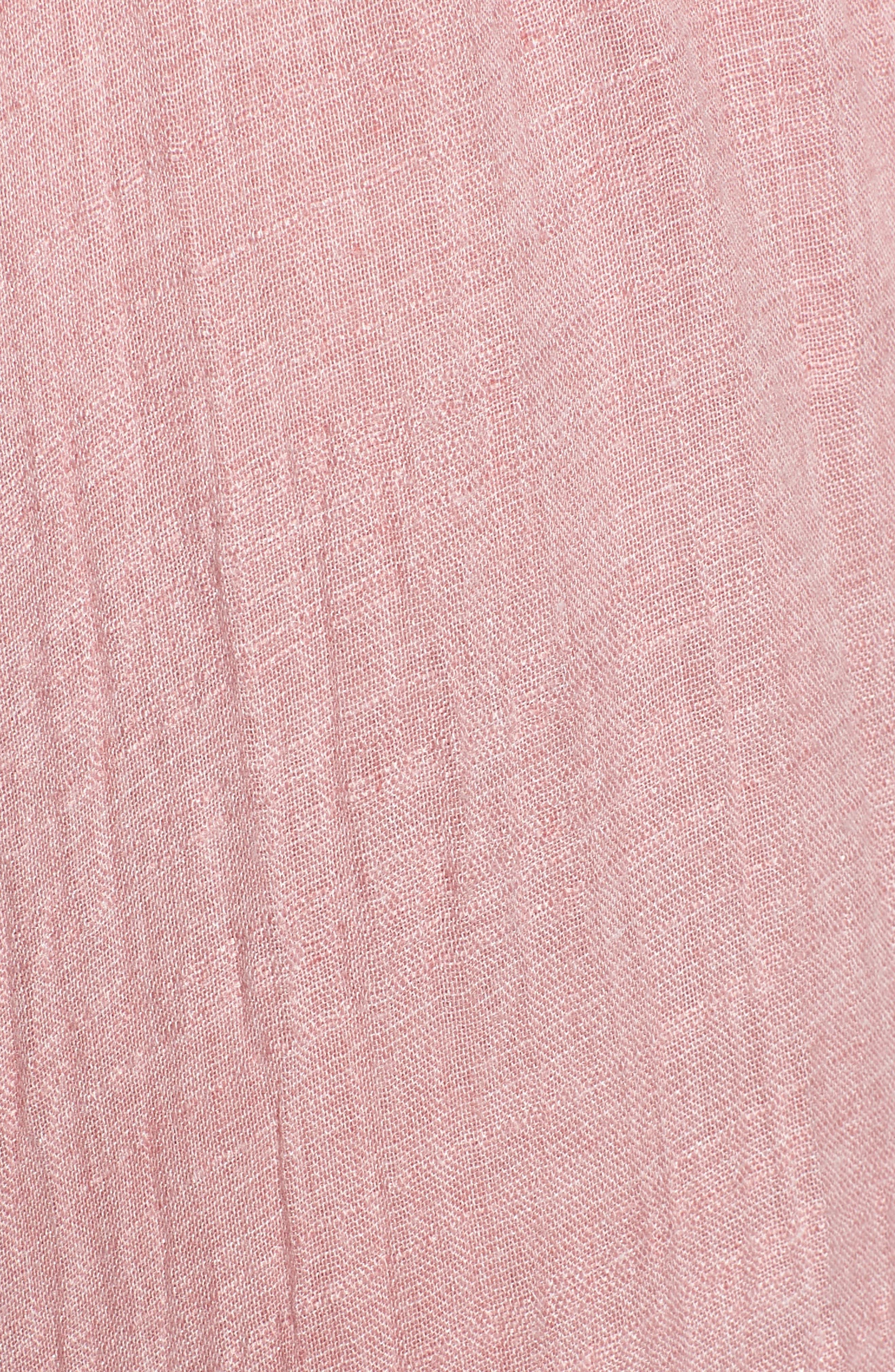 Nicolleta Tie Waist Midi Dress,                             Alternate thumbnail 5, color,                             Dusty Pink